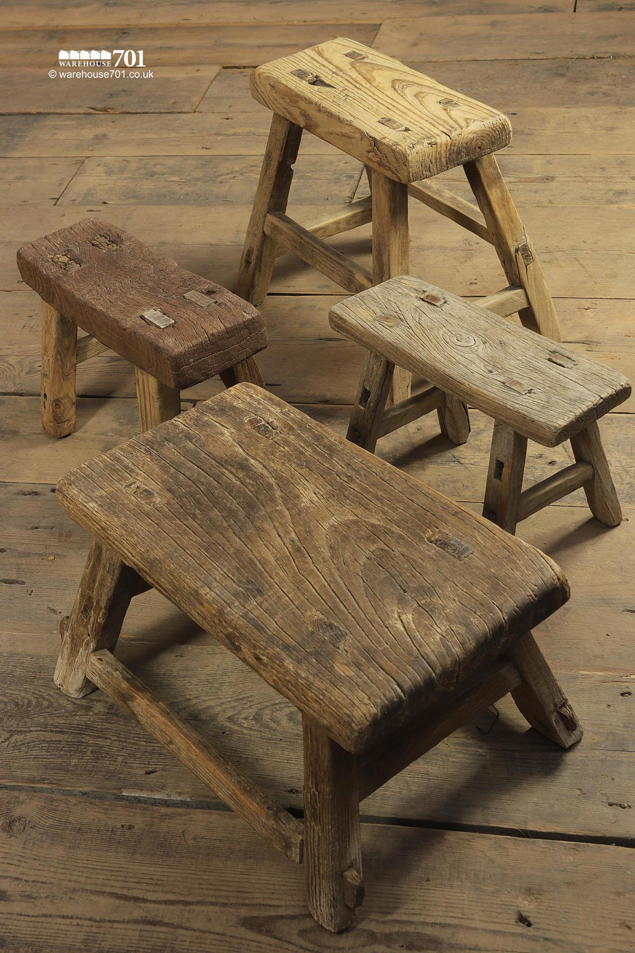 Reclaimed Elm Small Three and Four legged Milking Stools #4