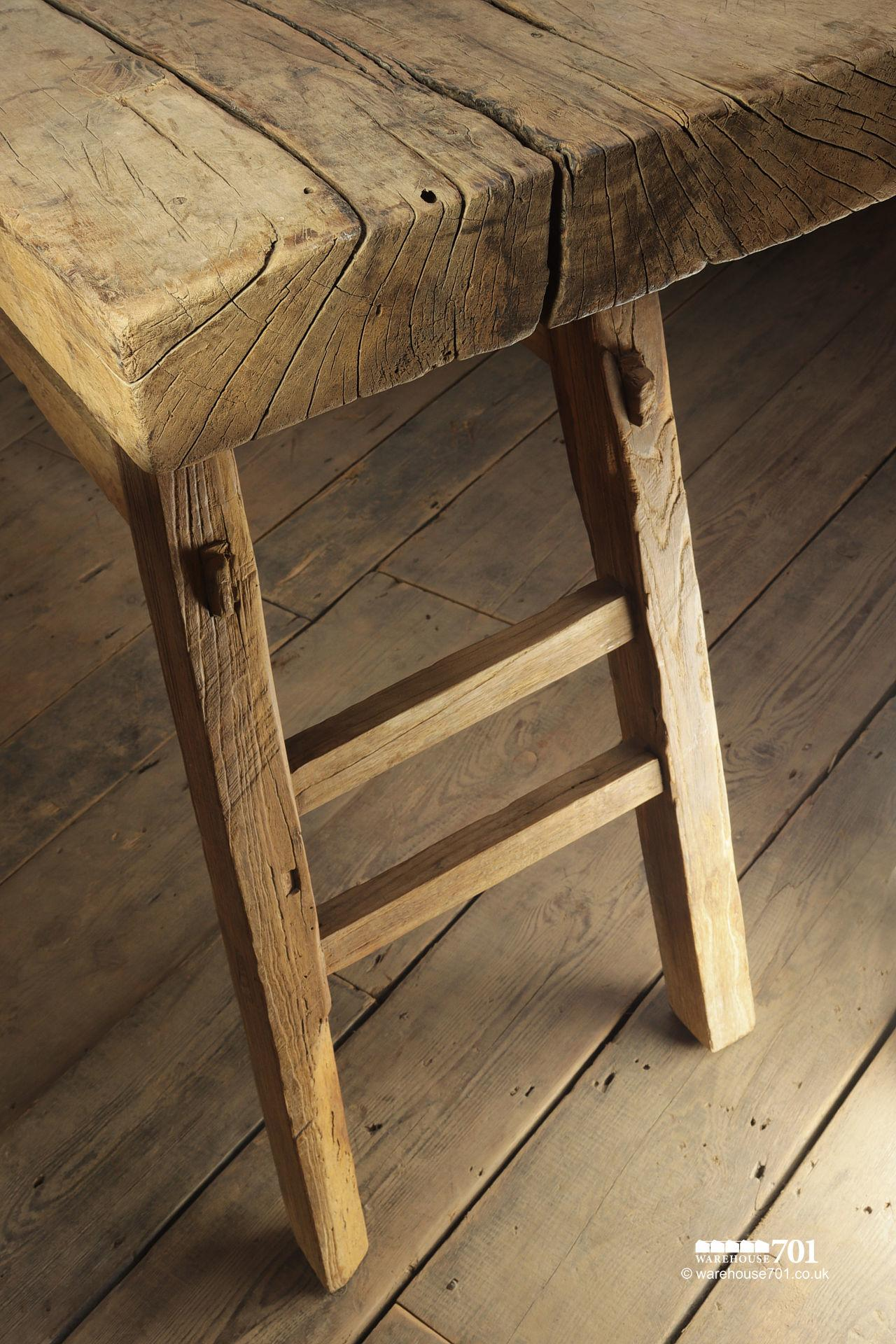 Reclaimed Elm Light Wood Console Table #4