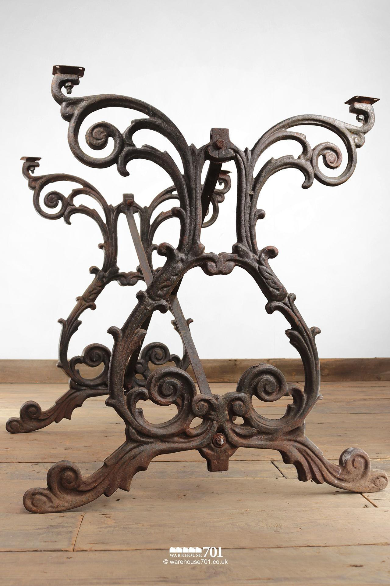 Old Cast Iron Scroll Pattern Table or Machine Base