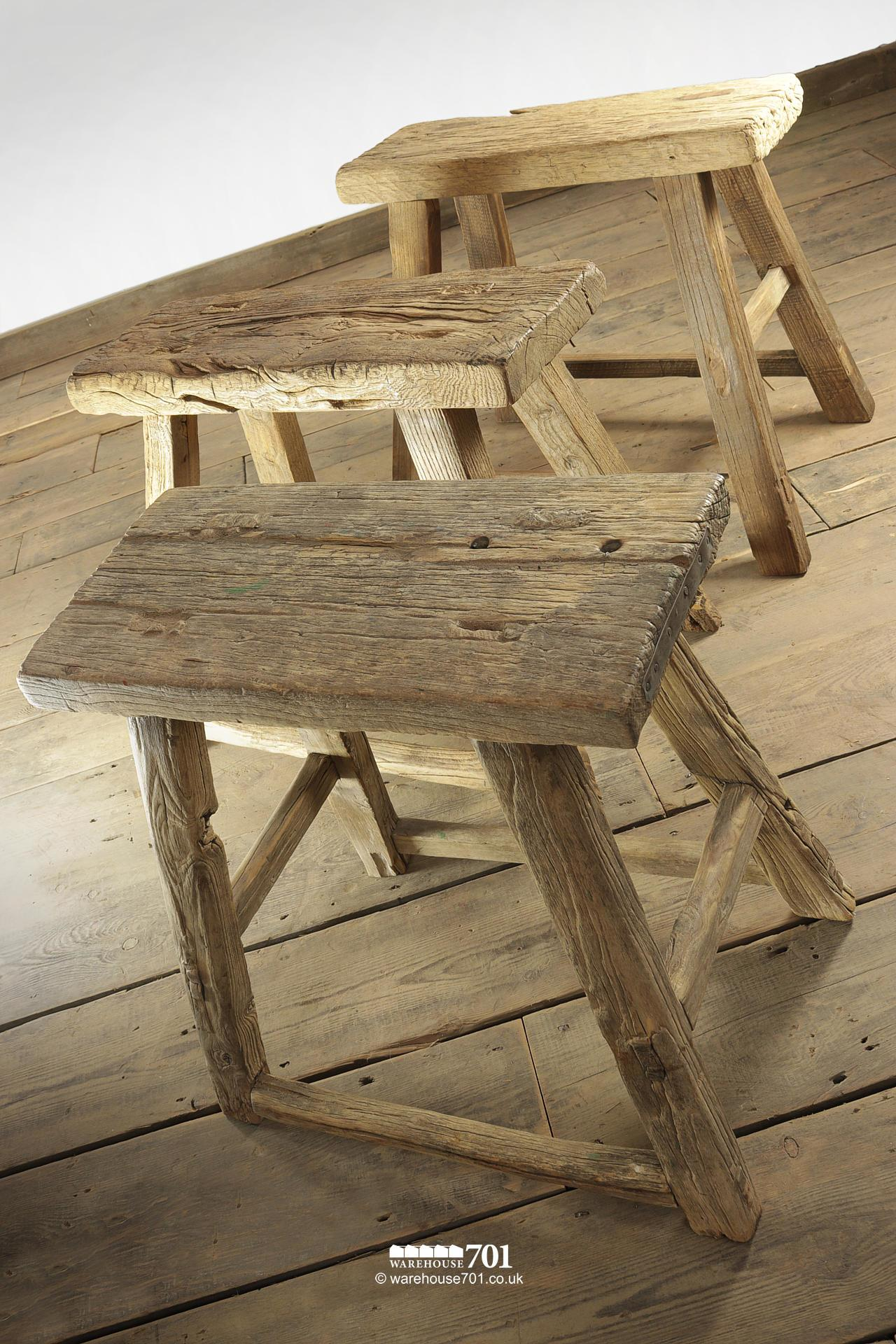Assorted Reclaimed Elm Large Four Legged Stools #3