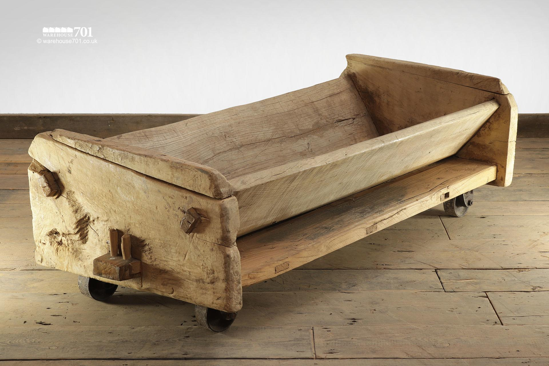 Reclaimed Elm Trough with Cast Iron Wheels #8
