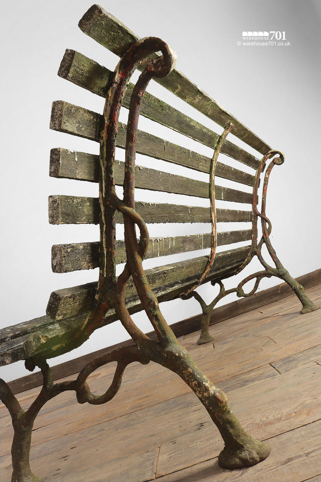 Old Branch Pattern Cast Iron and Wood Slat Bench #2