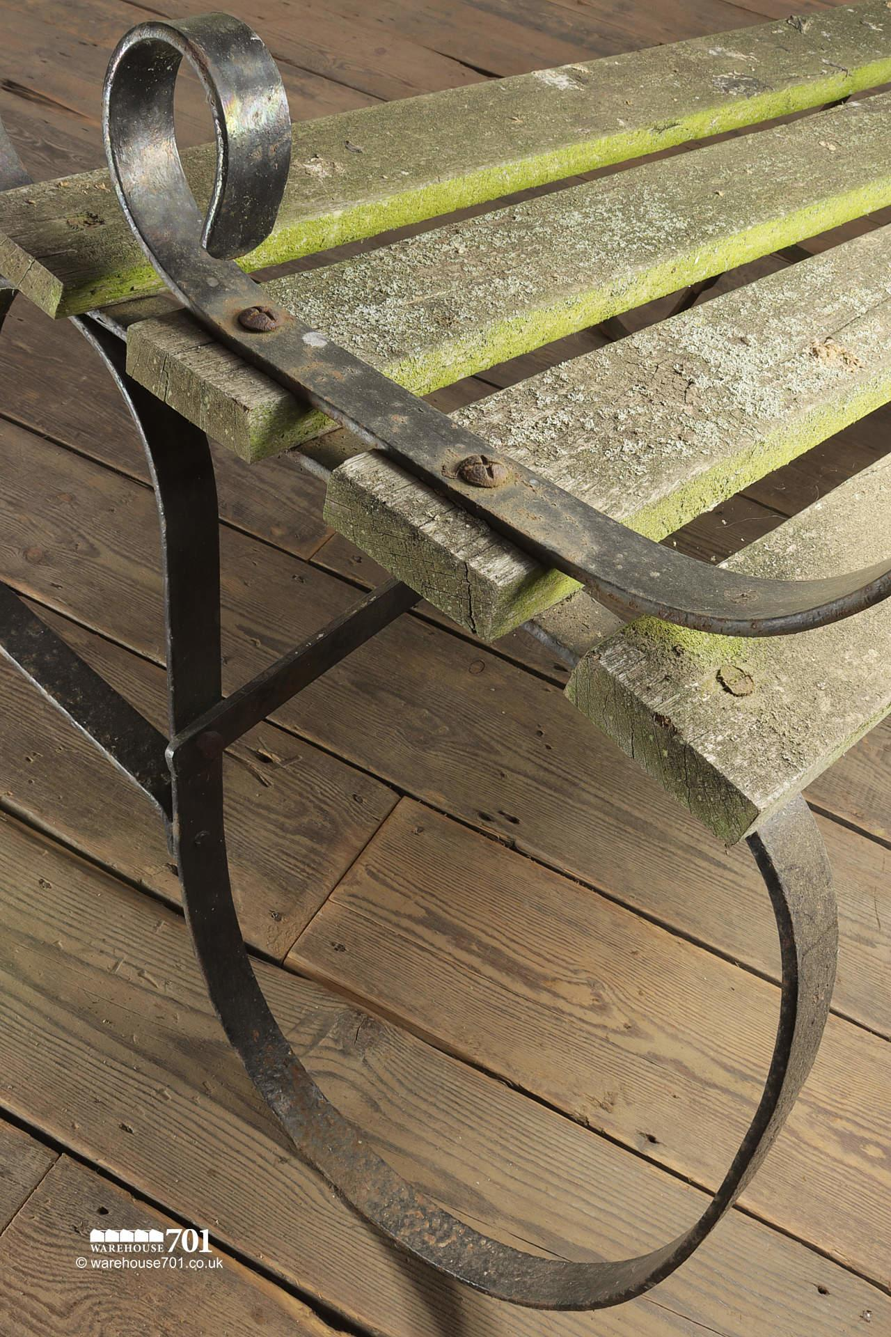 Lovely Old Long Wrought Iron Park or Garden Bench #3