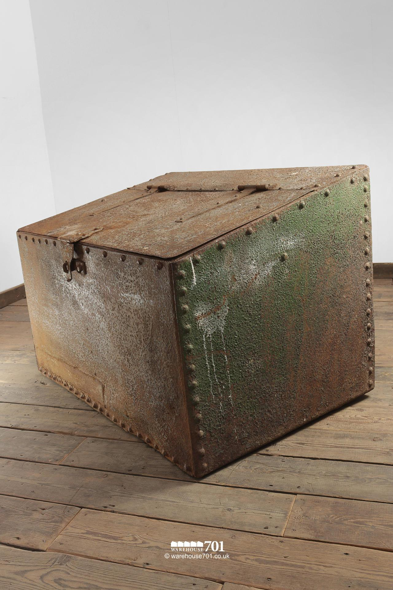 Large Green Reclaimed Riveted Double Feed Bin #4
