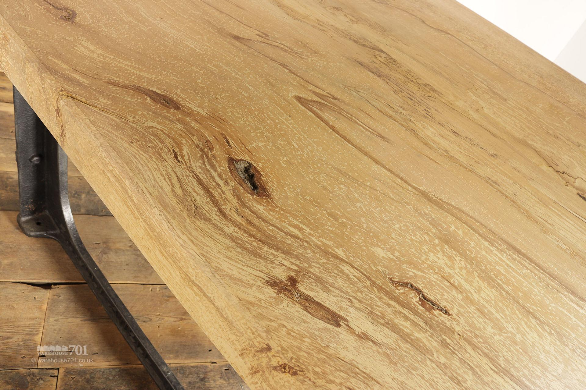Hand-Made Spalted Beech Industrial Dining Table #4