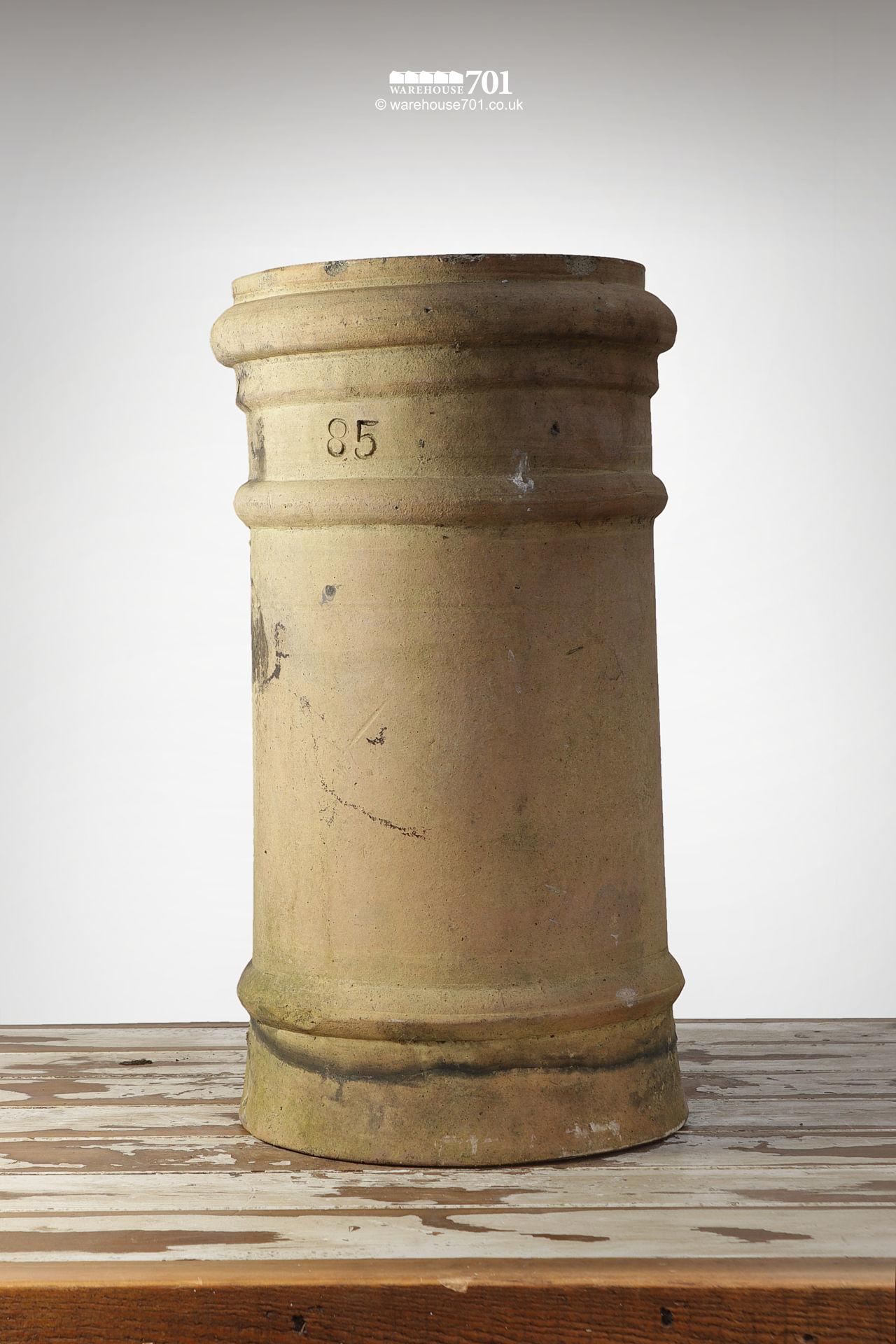 Reclaimed Straight Ribbed Buff Clay Chimney Pot #2