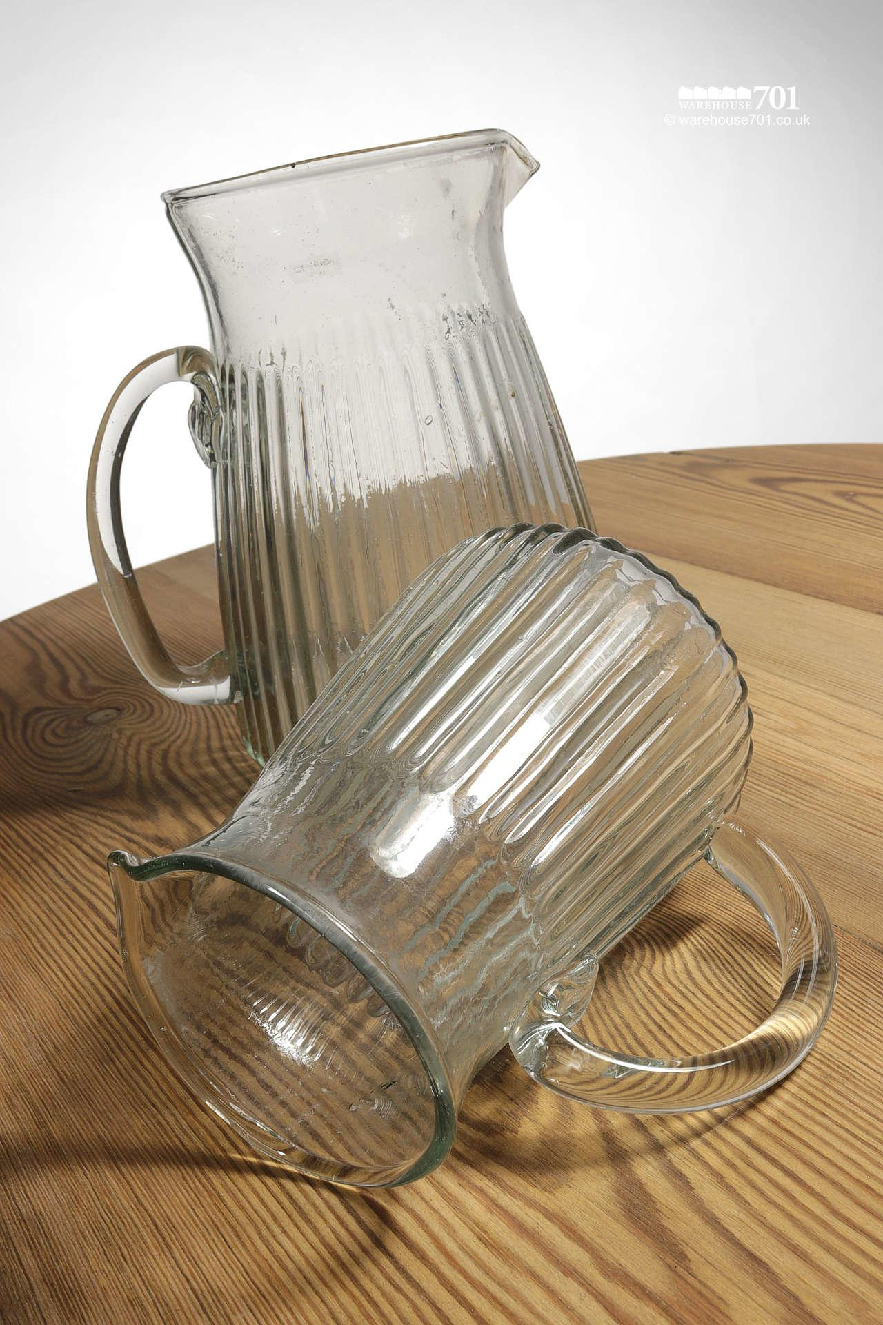 Attractive Hammered Glass Pattern Gadrooned Milk or Water Jugs