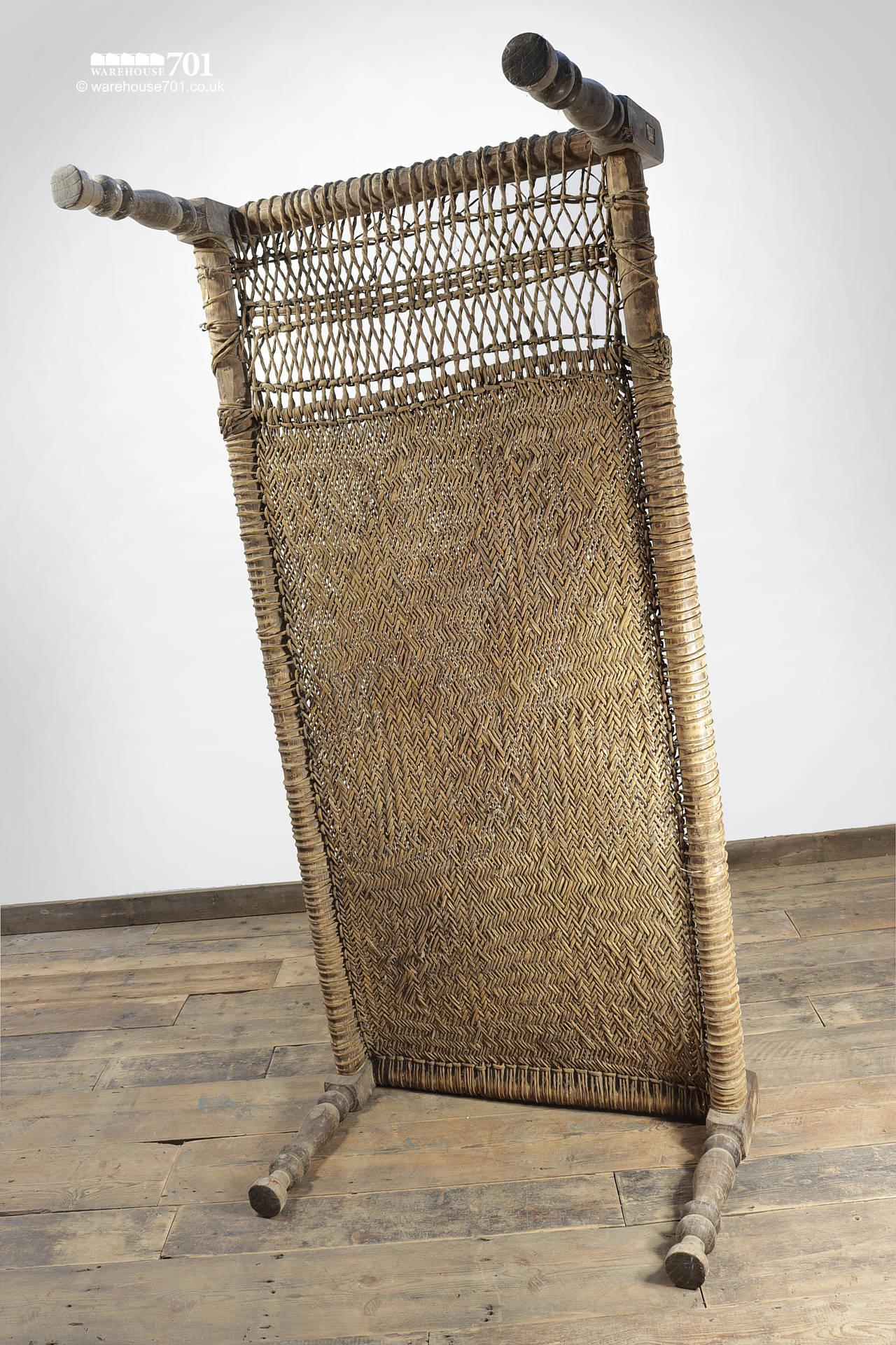 Decorative Wood and Woven Rattan Bed #6