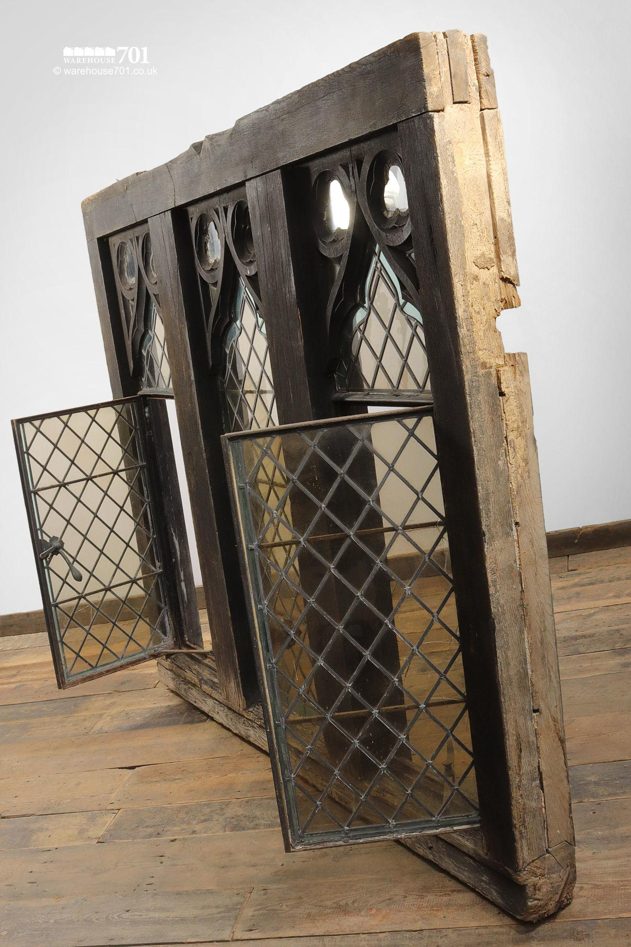 Impressive Pair of Gothic Style Oak and Leaded Glass Windows