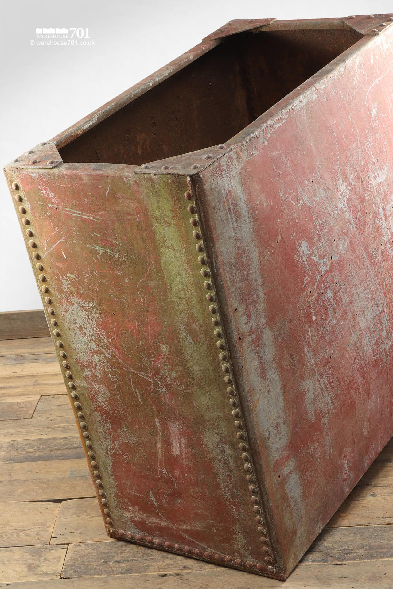 Old Salvaged Galvanised Riveted Red Water Tank #1