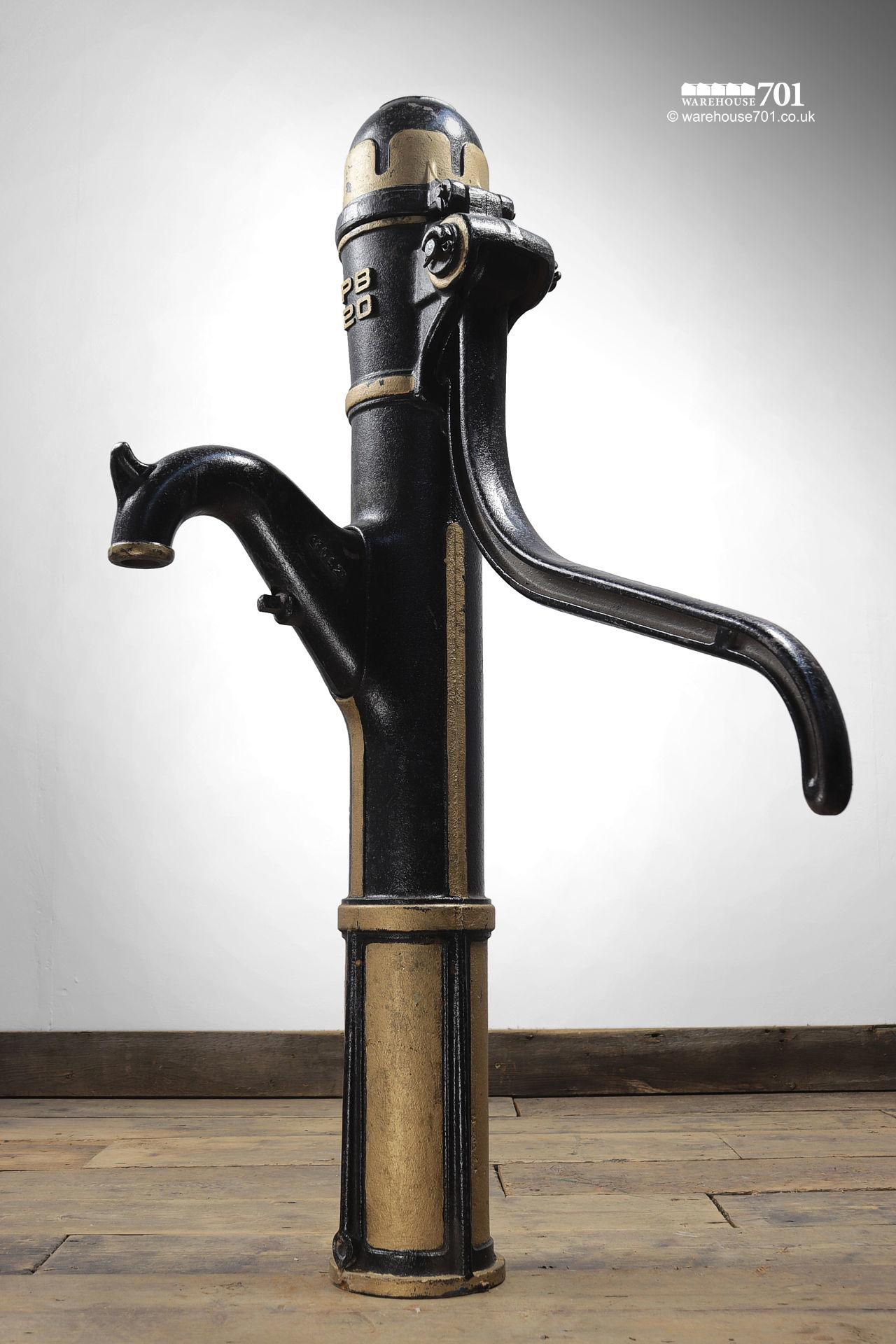 Salvaged Gold and Black Cast Iron Water Pump #3