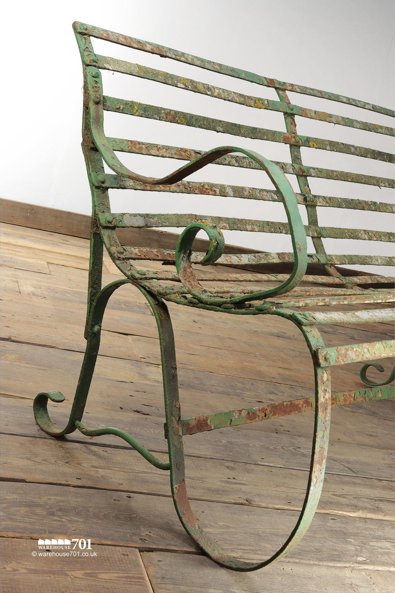 Salvaged Five Seater Metal Strap Park Bench