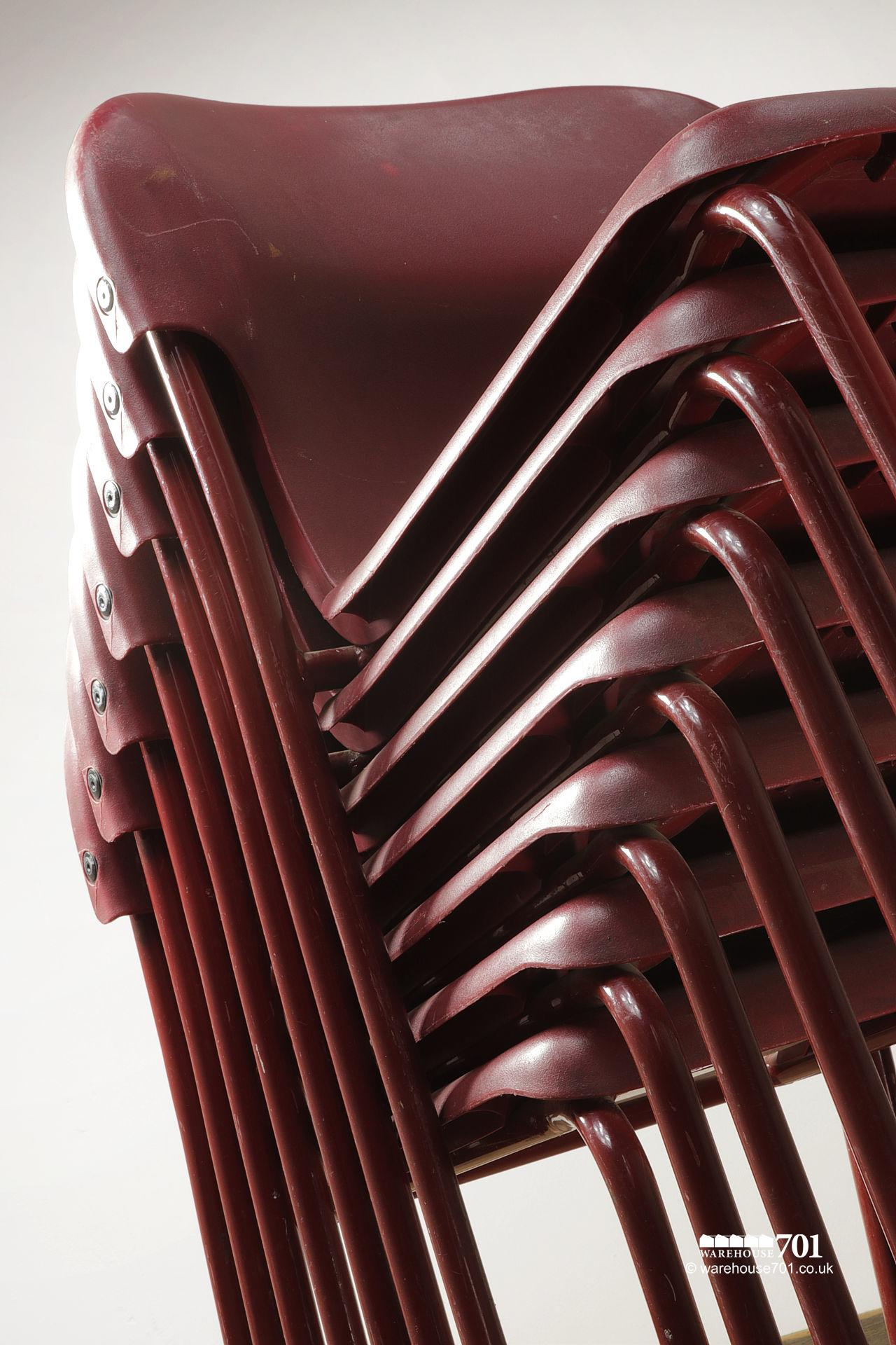 Vintage Burgundy Tubular Steel and Plastic Stacking Chairs