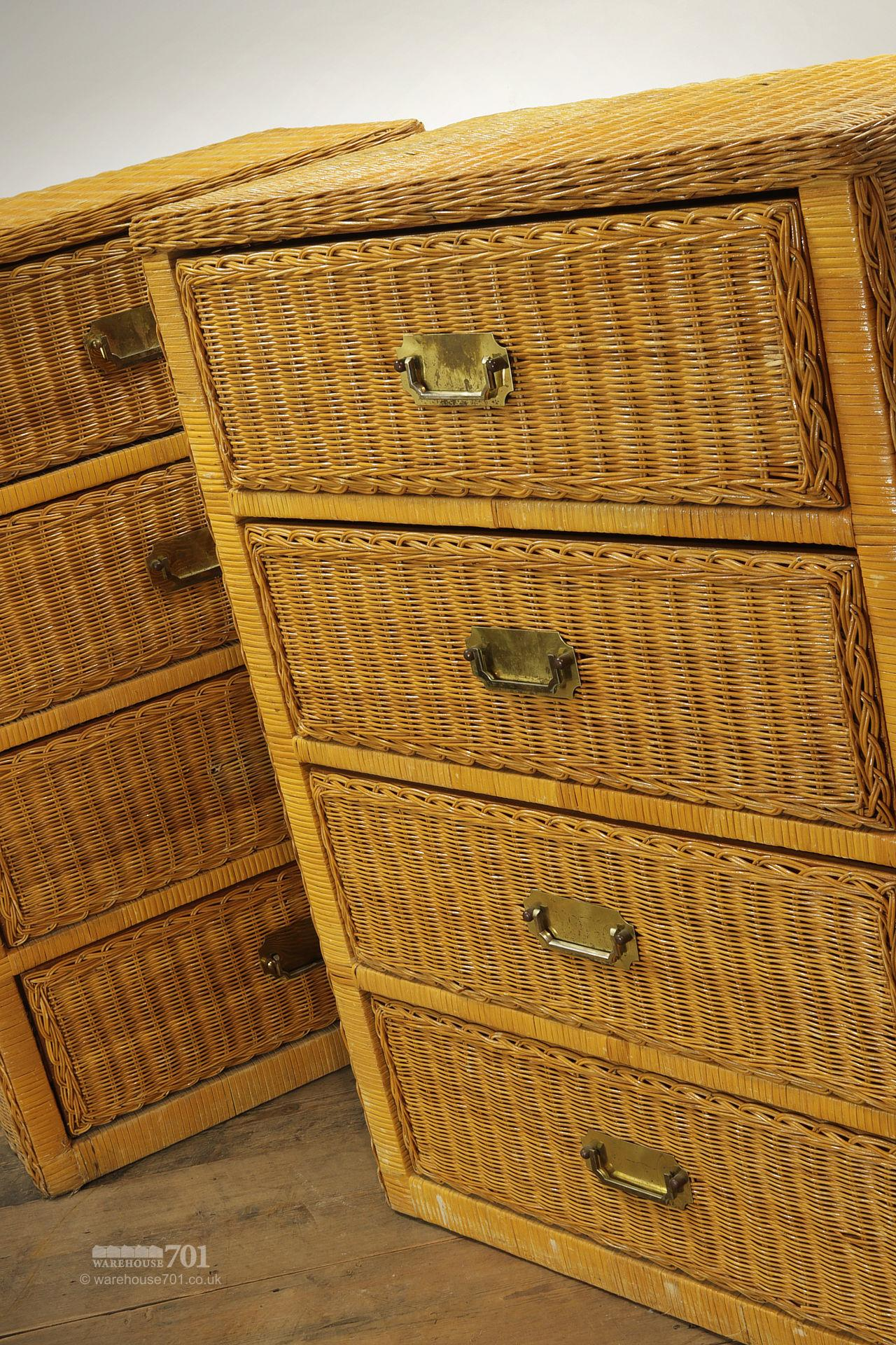 Pair of Vintage Style Wicker Chest of Drawers #3