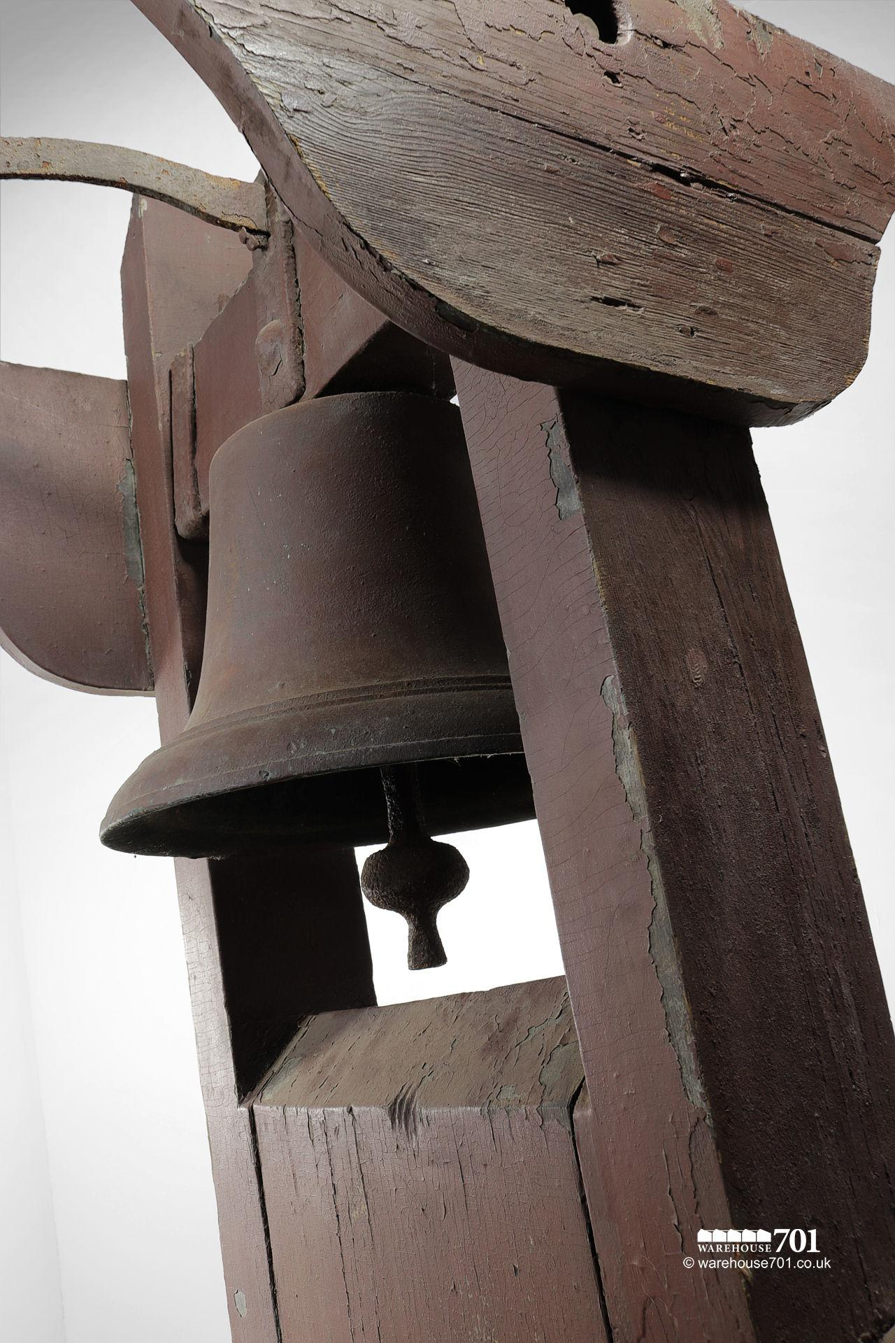 Antique School, Chapel or Factory Bell in Rare Bellframe #6