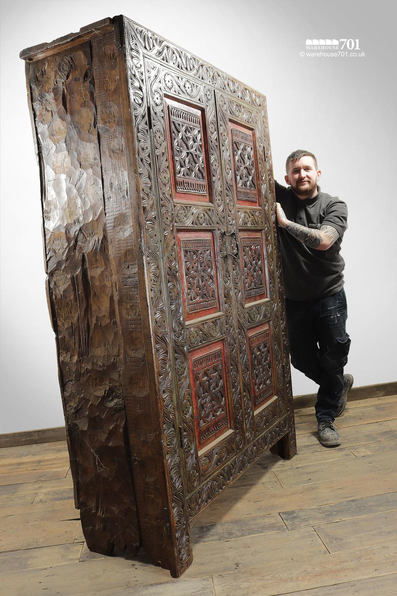 Grand Hand-Carved Wood Armoire or Cupboard #4