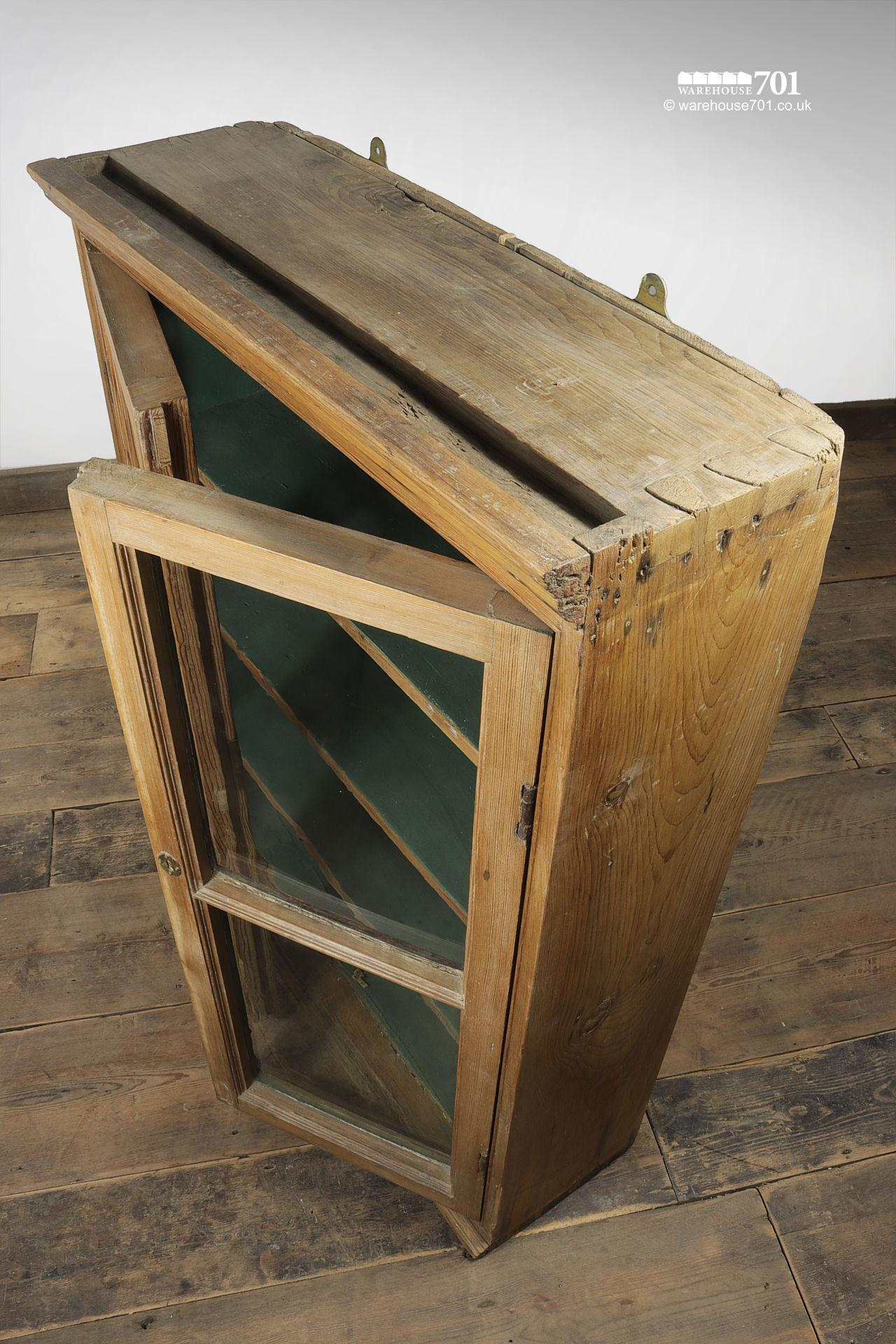 Green Interior Antique Pine Glazed Display Cabinet #4