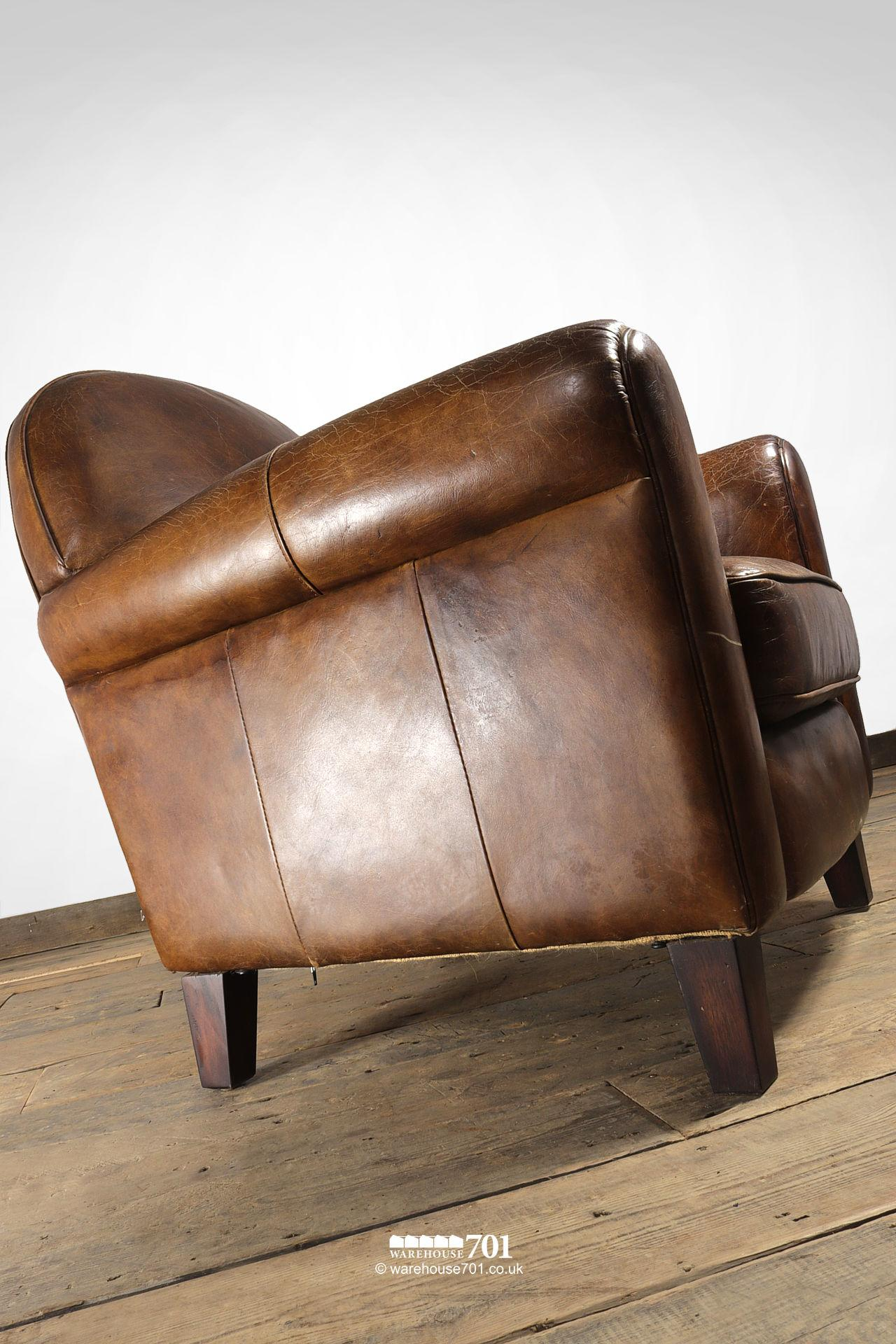 Beautifully Pre-Aged Tan Leather Armchair with Rounded Arms and Back #4