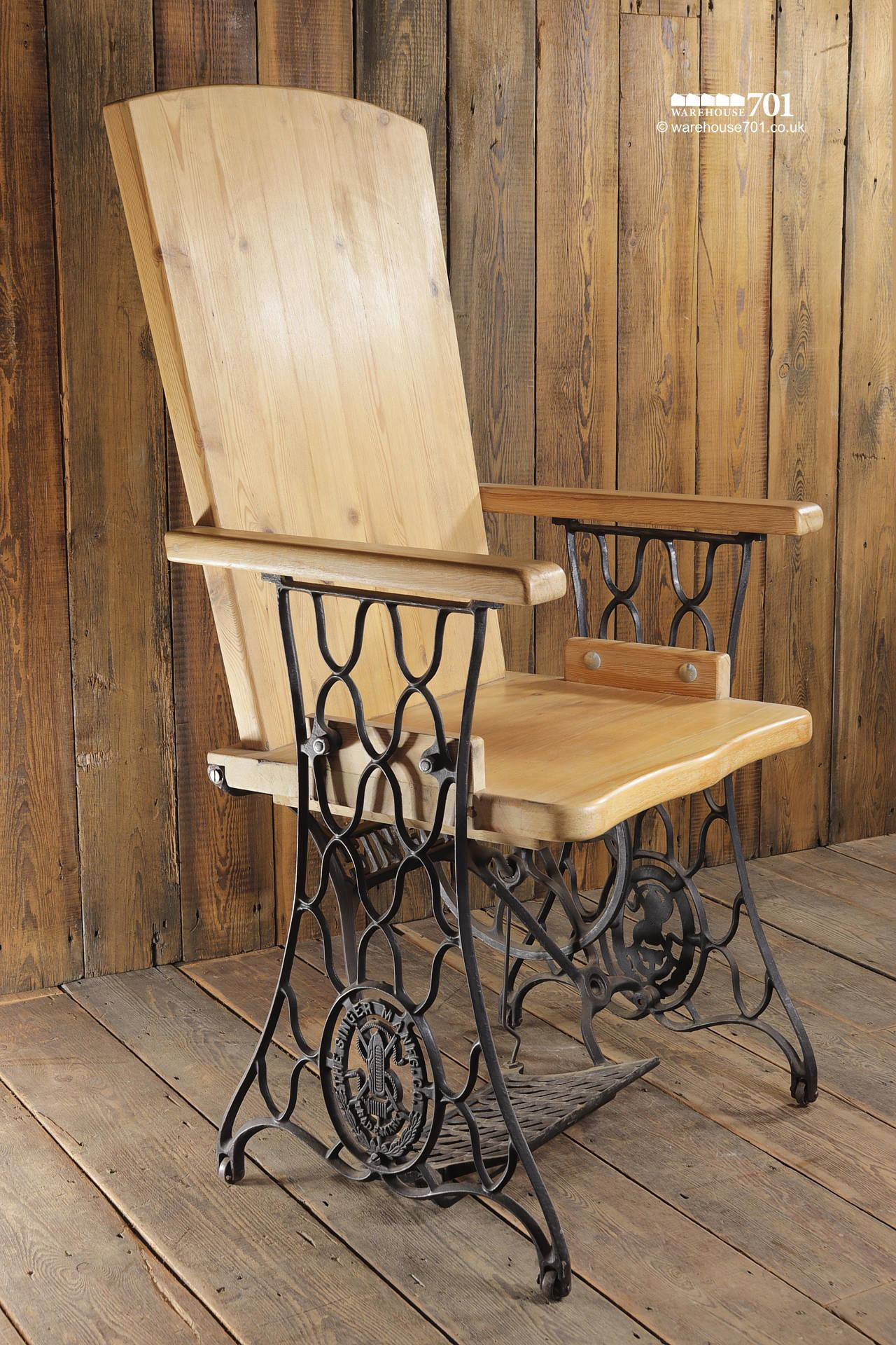 Handmade Chair with Authentic Singer Sewing Machine Treadle Frame #9
