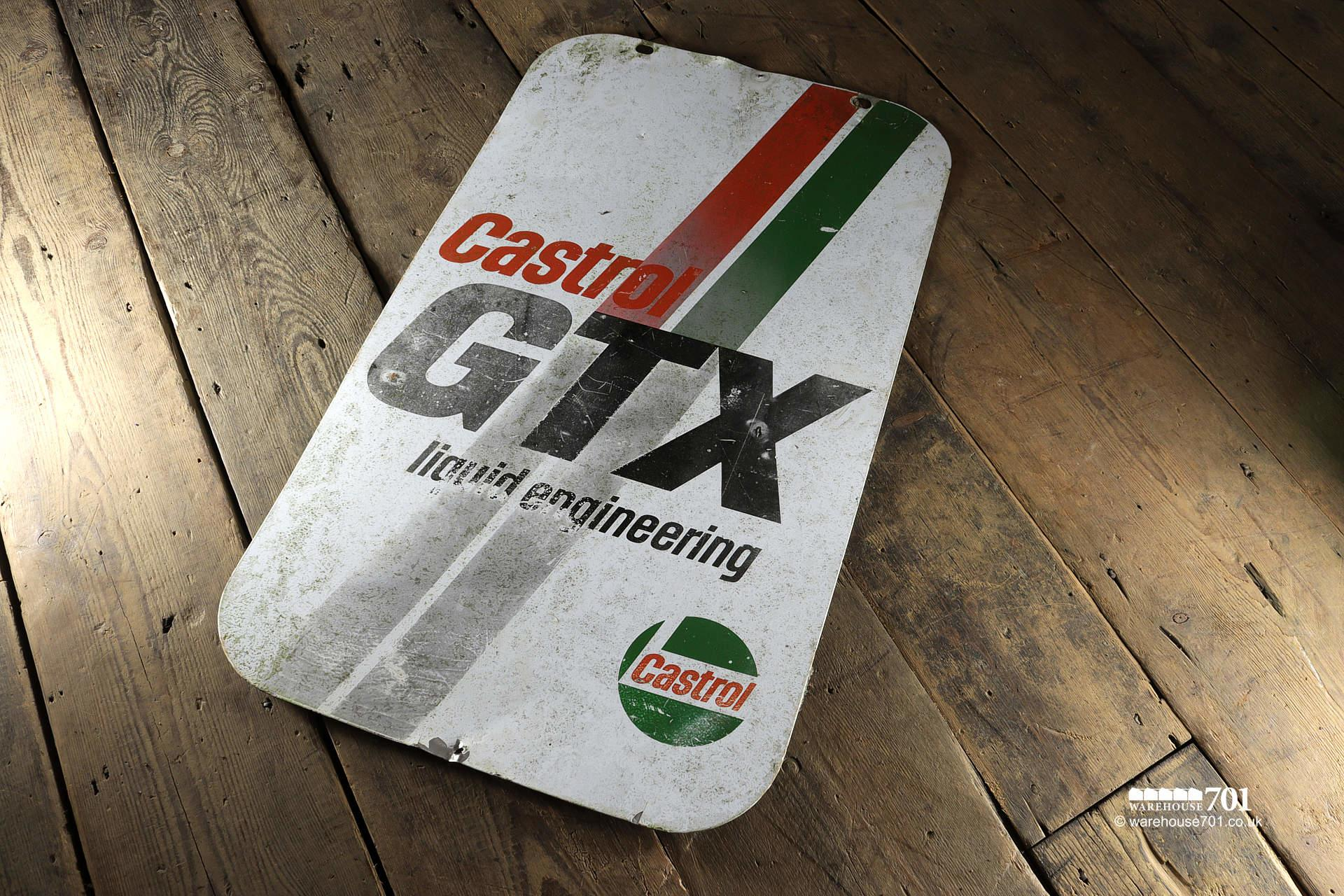 Salvaged Castrol GTX Double-Sided Swing Sign Panel #2
