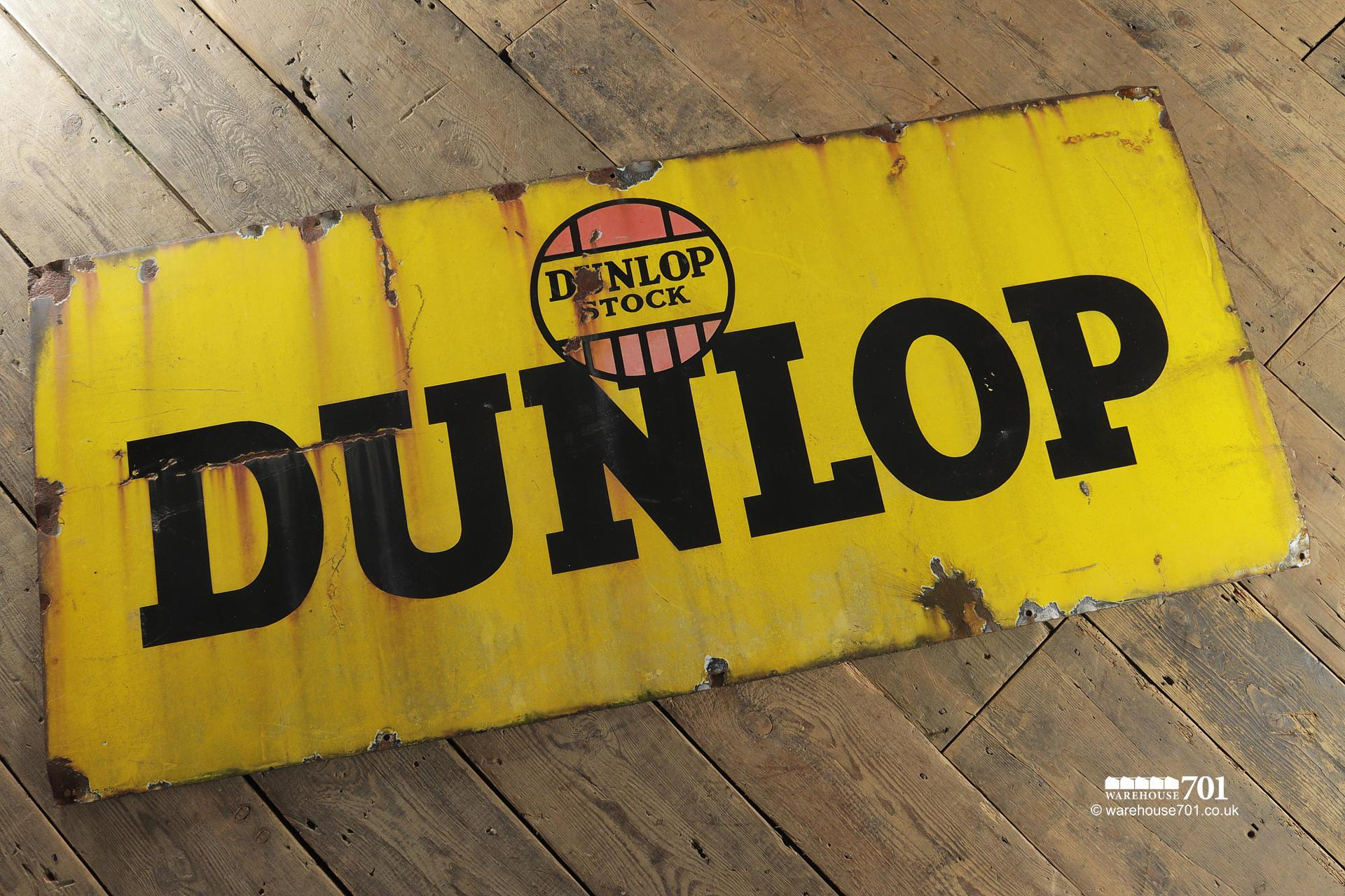 Old Metal Single Sided Yellow Enamel Dunlop Stock Sign #4