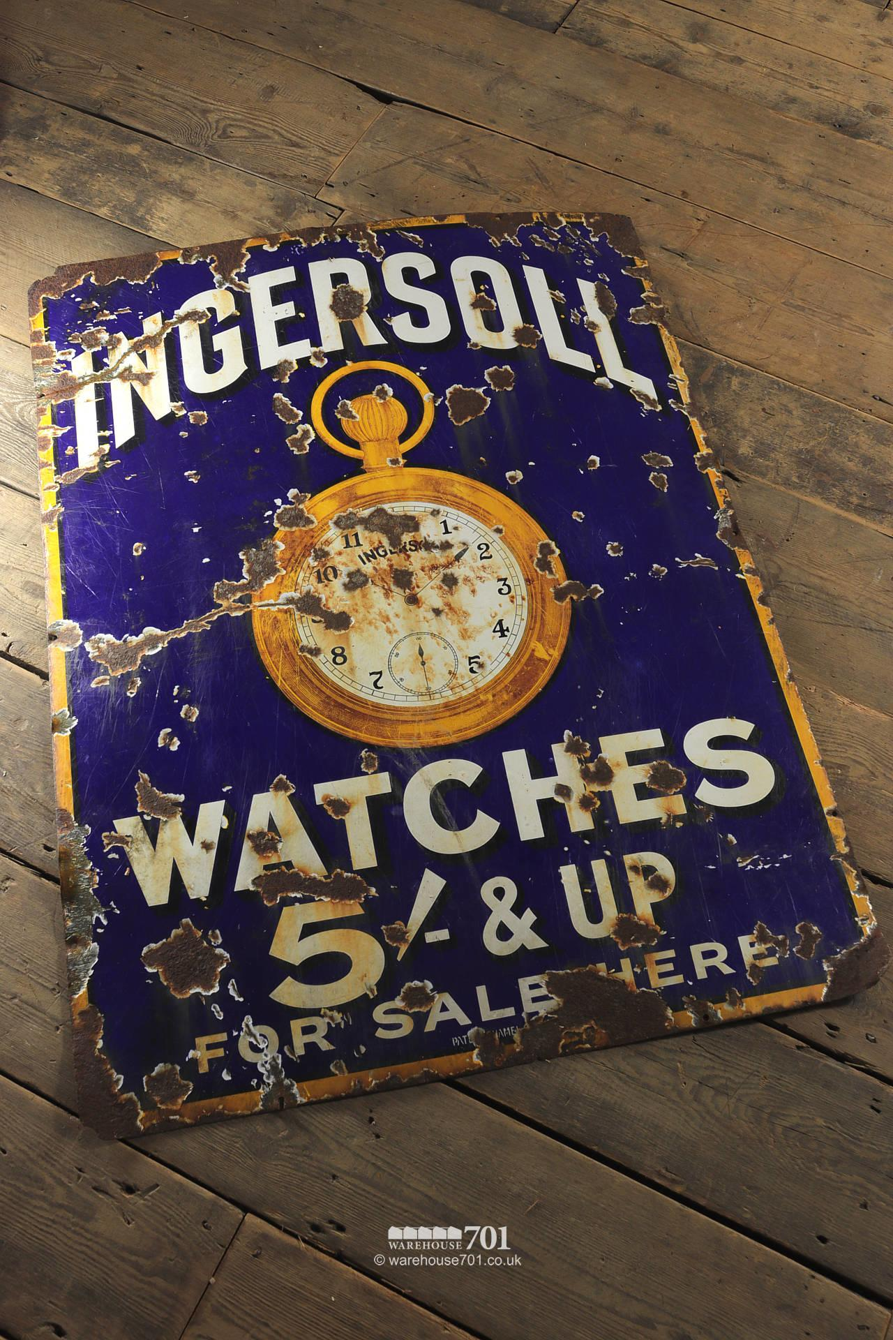 Salvaged Blue Enamel Ingersoll Watches Single Sided Sign #4