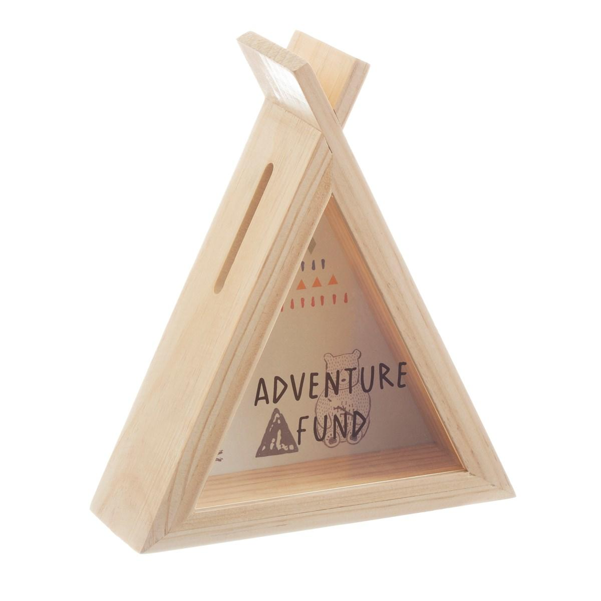 New Wooden Bear Camp Teepee Money Box with Illustrations