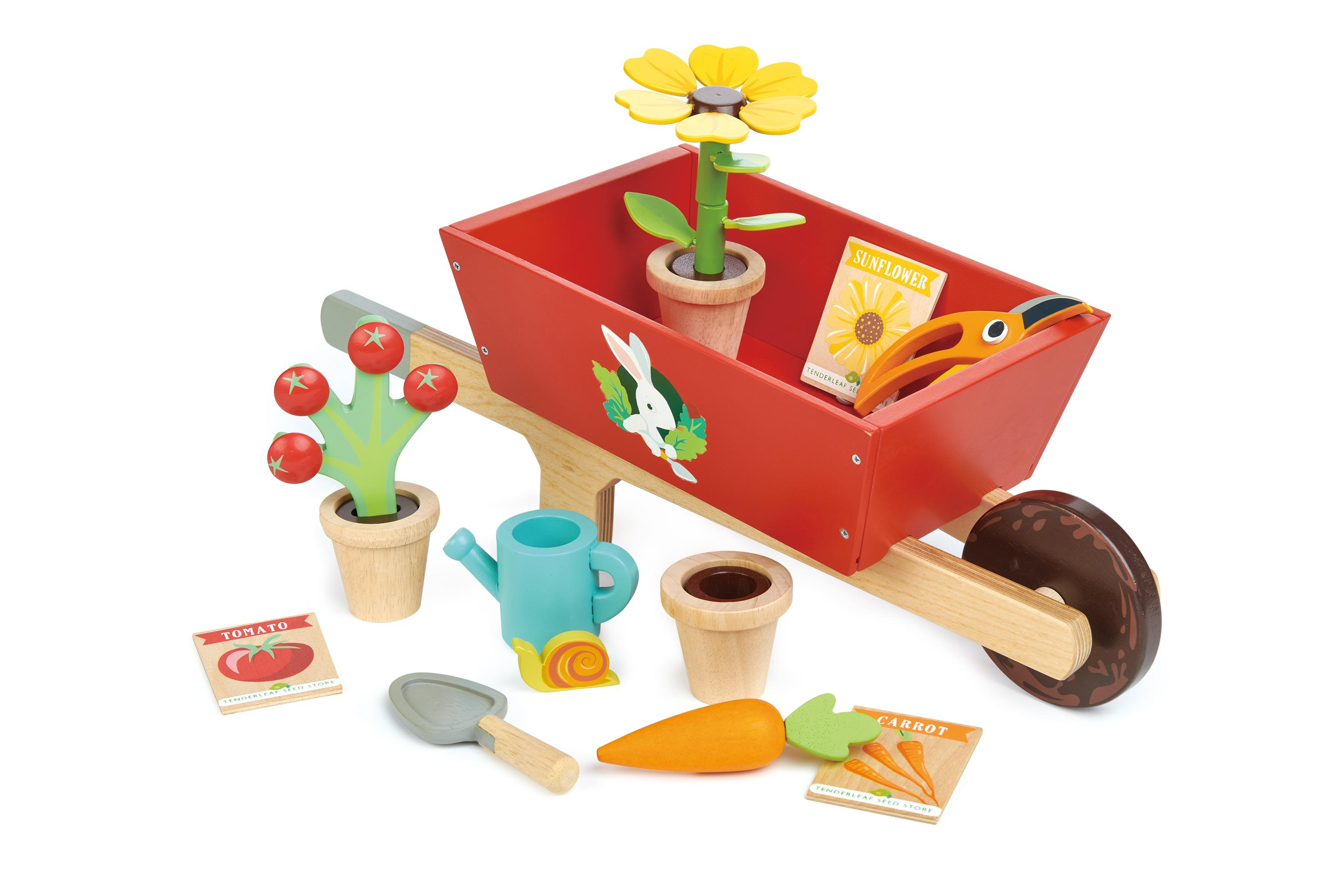 New Wooden Toy Wheelbarrow Set with Removeable Plants, Tools and more #2