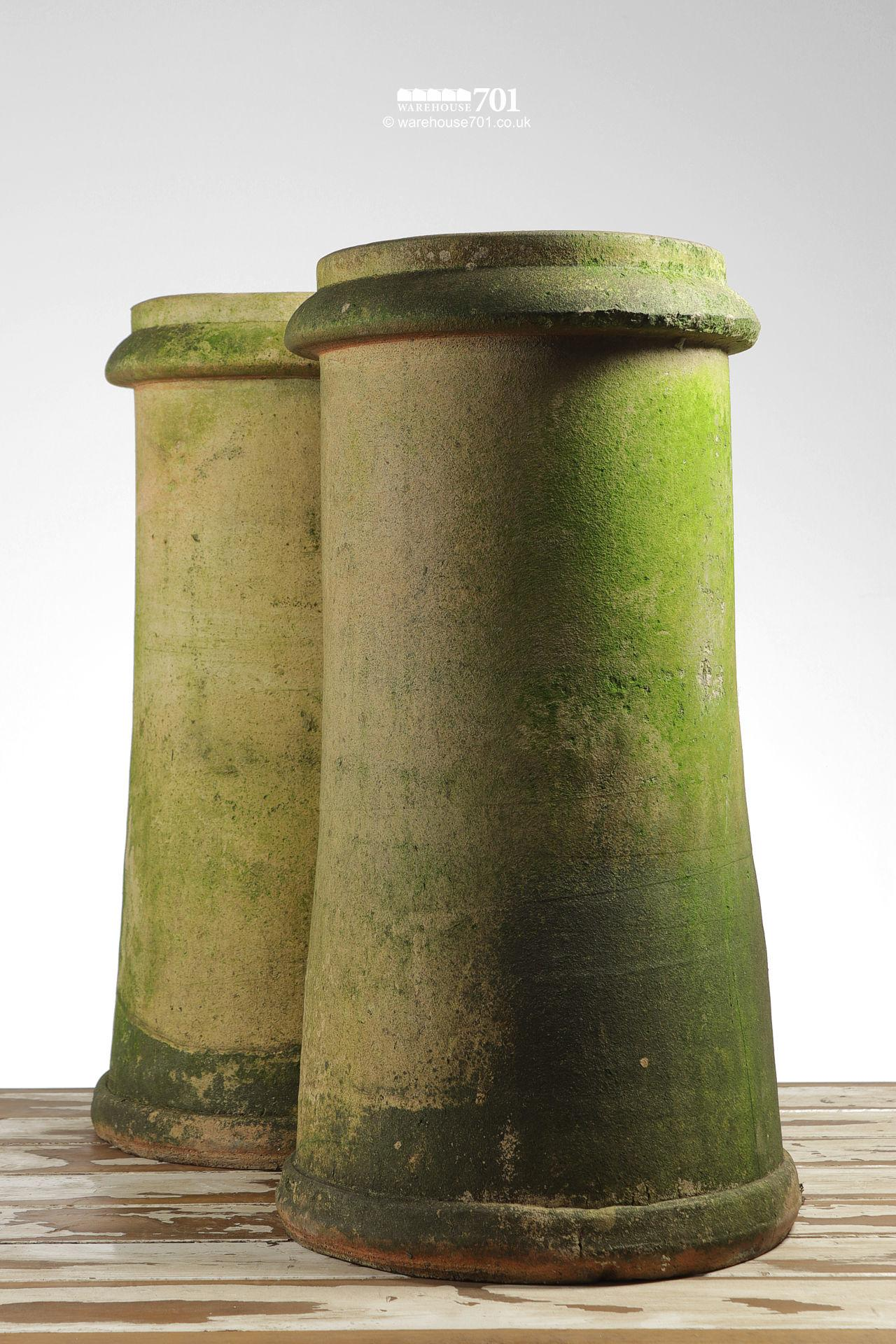 Pair of Old Tall Herefordshire Cream or Buff Chimney Pots