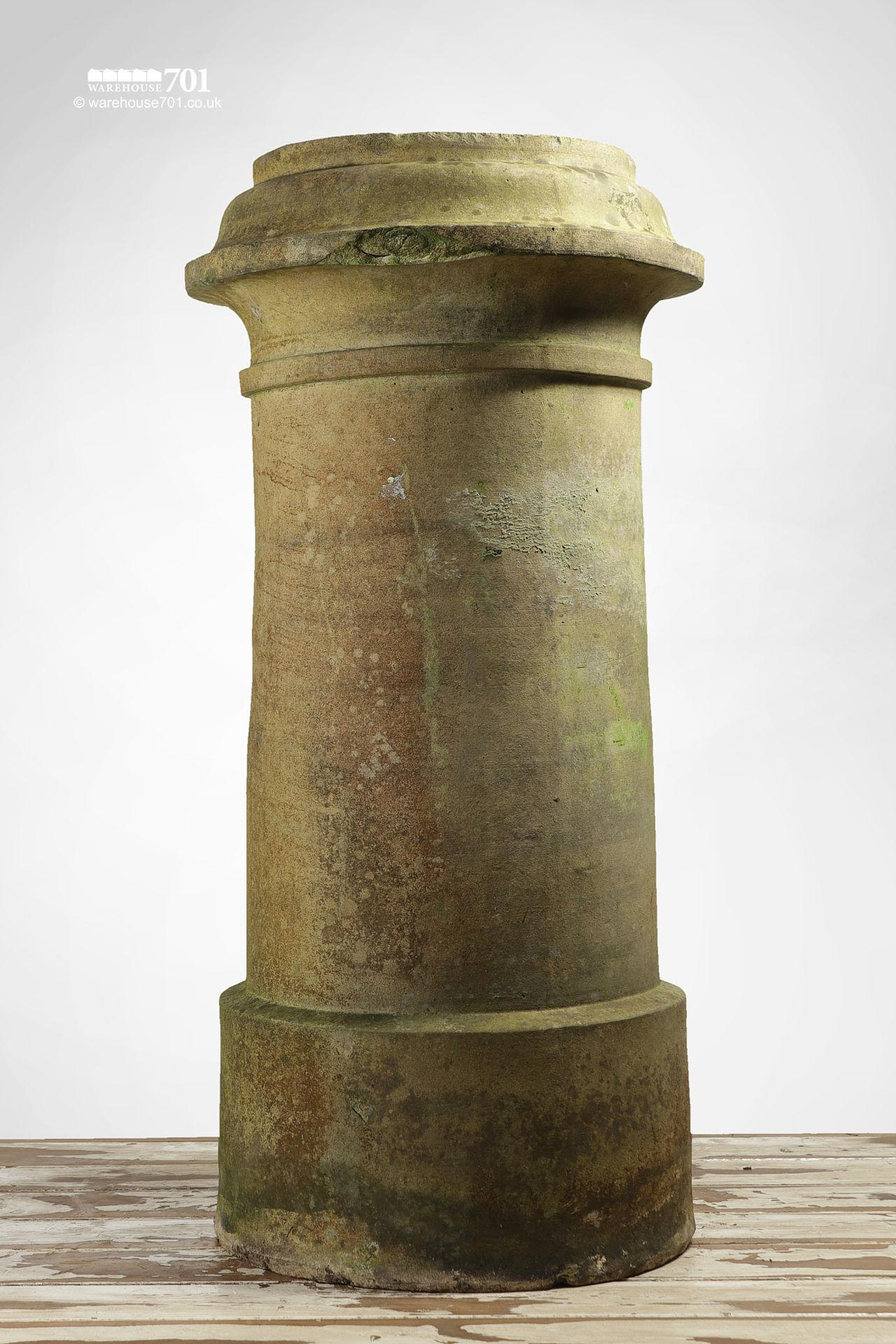 Pair of Reclaimed Tall Cream or Buff Ribbed Cannon Chimney Pots #2