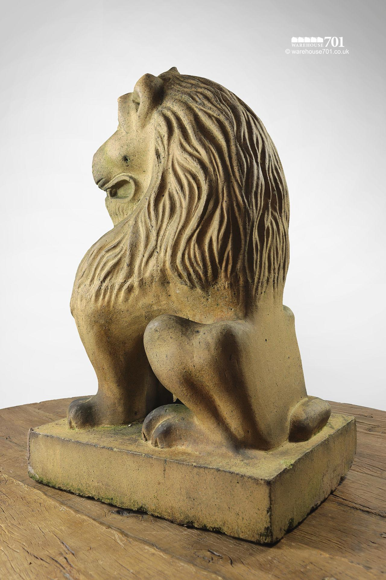 Beautiful Salvaged Ornamental Terracotta Stylised Lion Figure #5