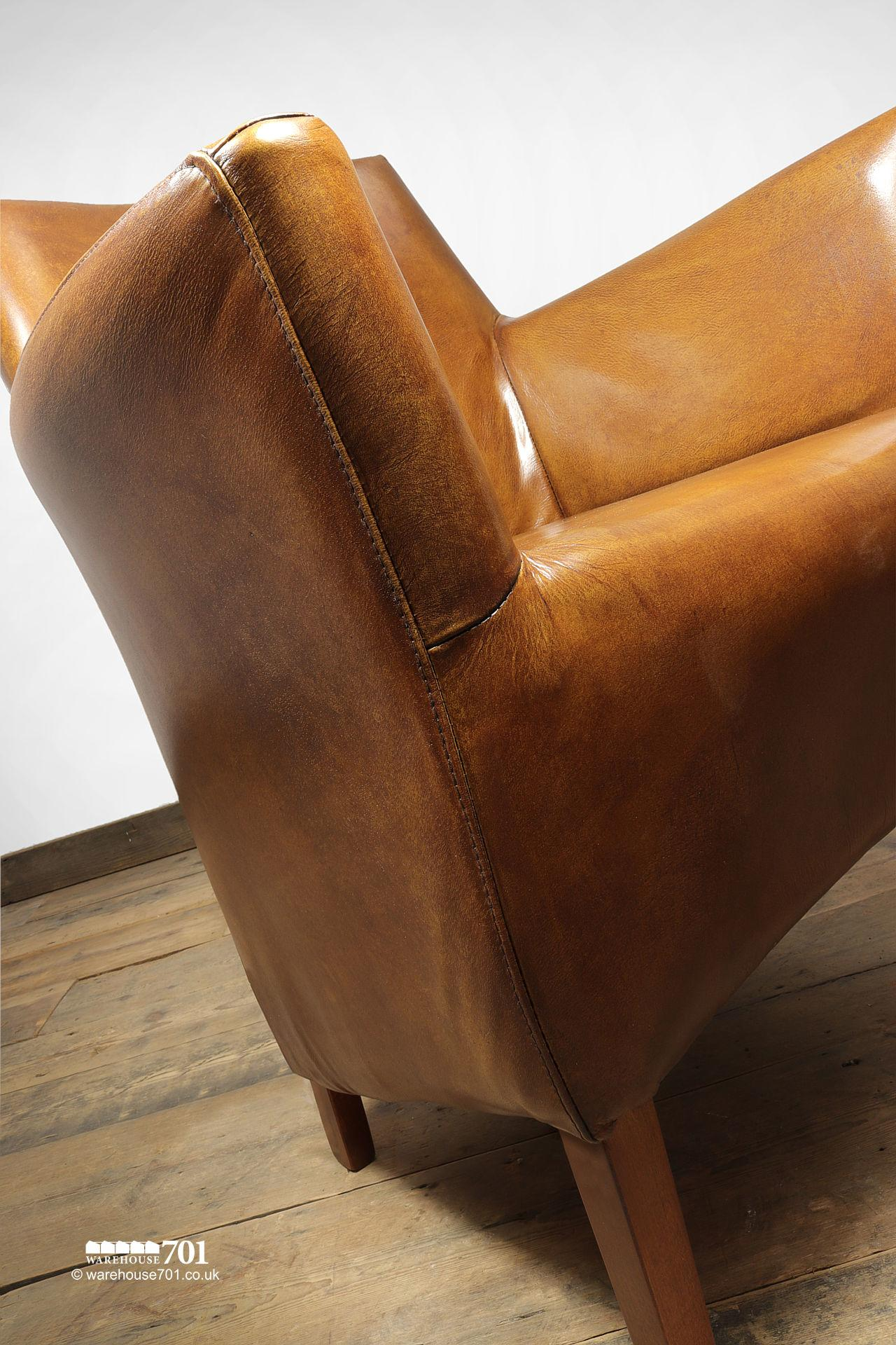 NEW Stylish and Sumptuous Compact Stitched Leather Armchair #2