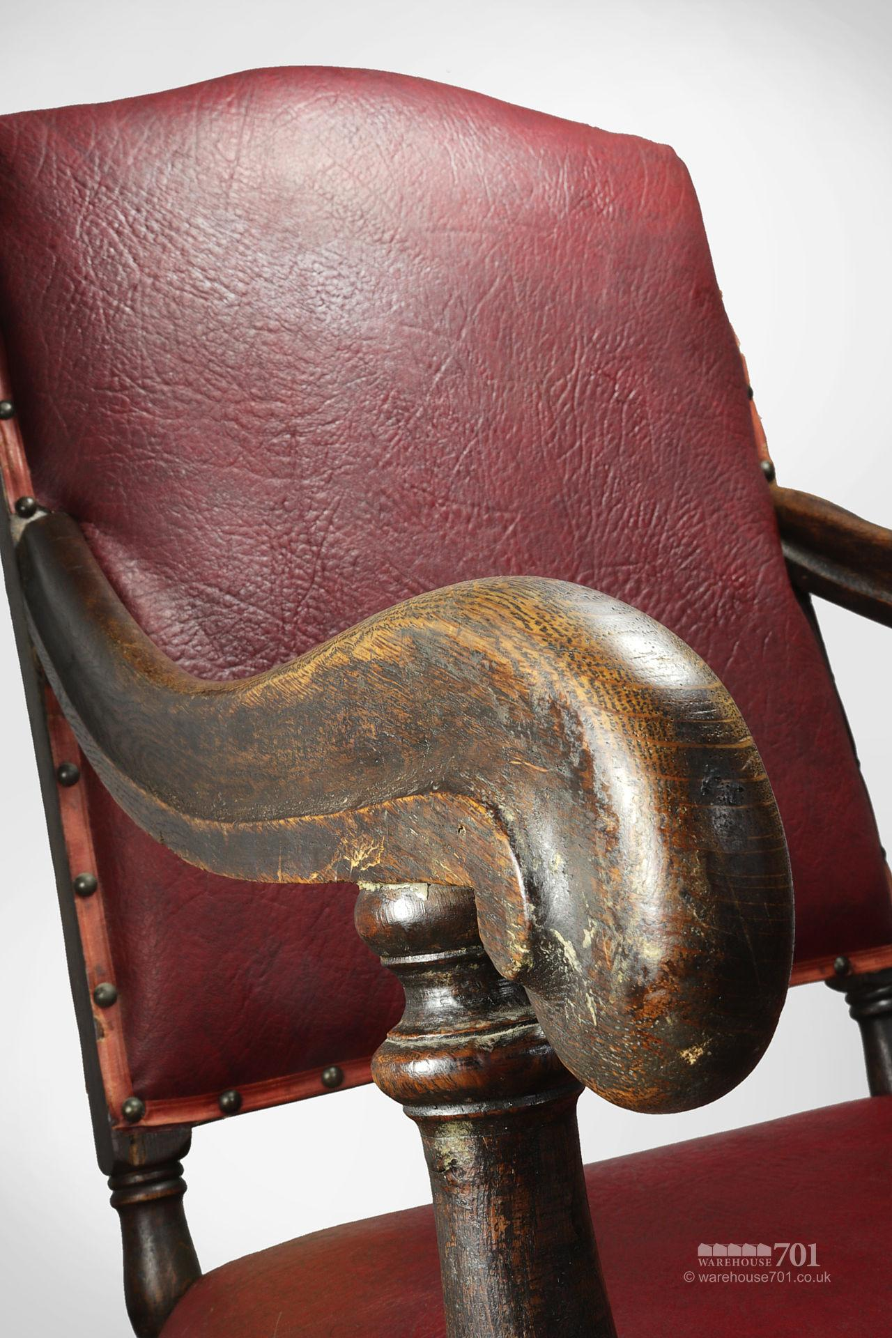 Grand Old Red leather and Oak Hallway or Armchair #6