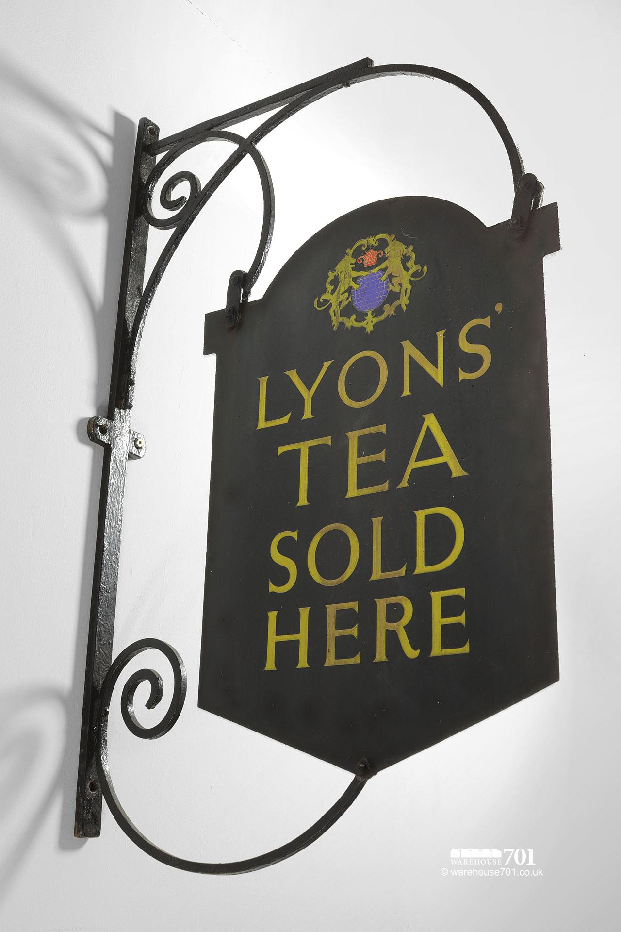 Authentic Double-Sided Lyons' Tea Projecting Hanging Wall Sign