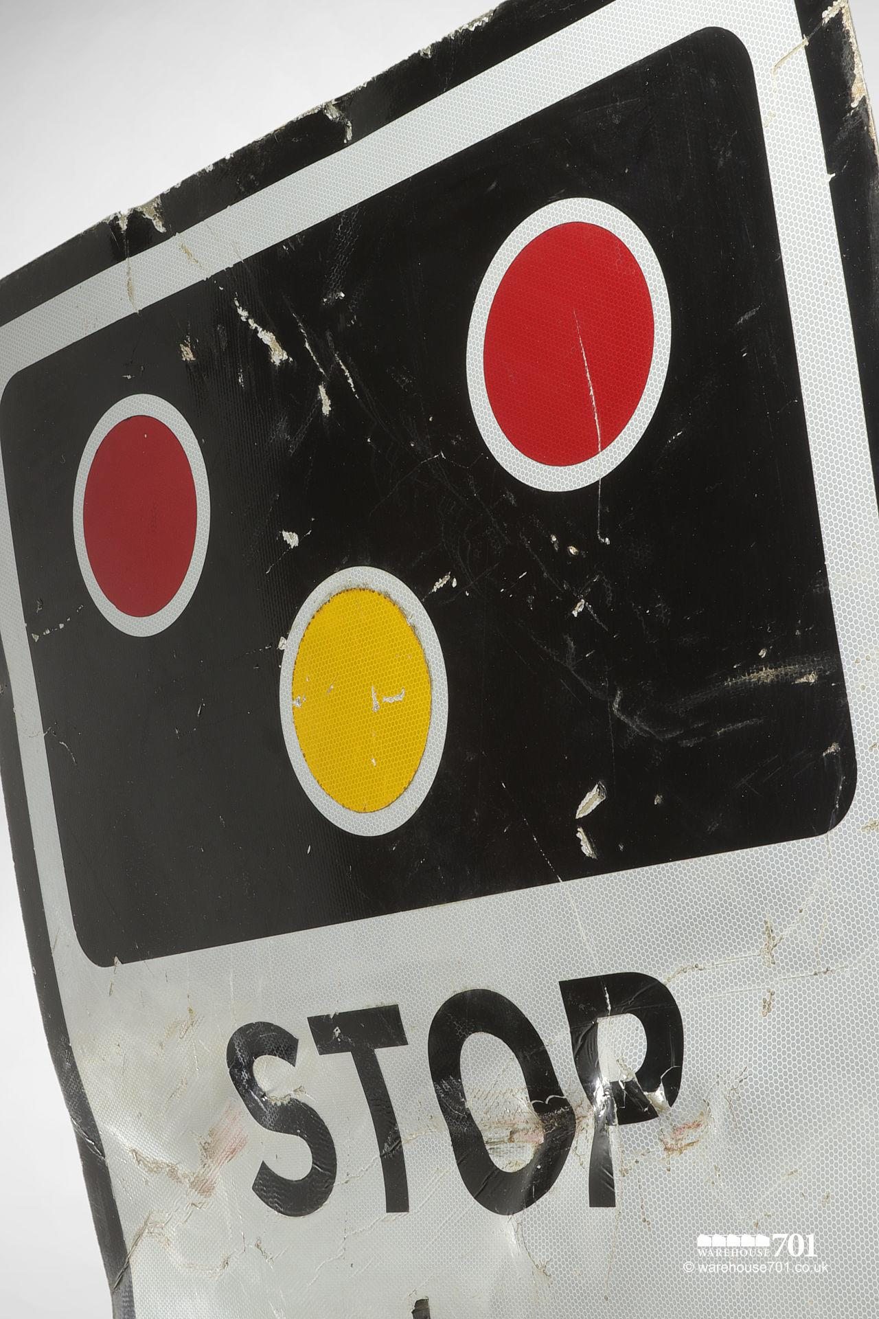 Reclaimed Railway Crossing Warning Sign STOP When Lights Show #2
