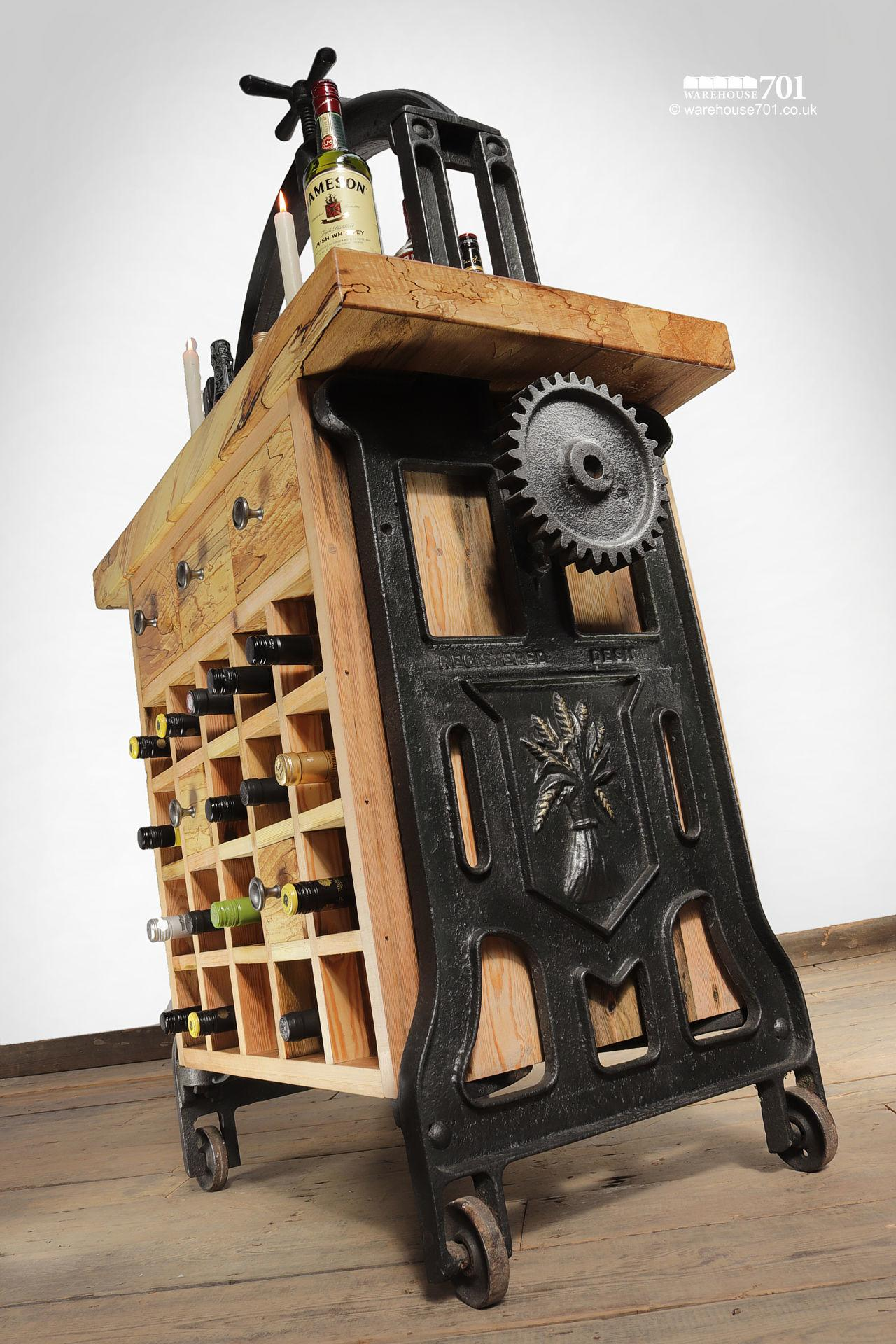 Unique Hand-Crafted Cast Iron and Beech 'Silenus' Wine Station #4