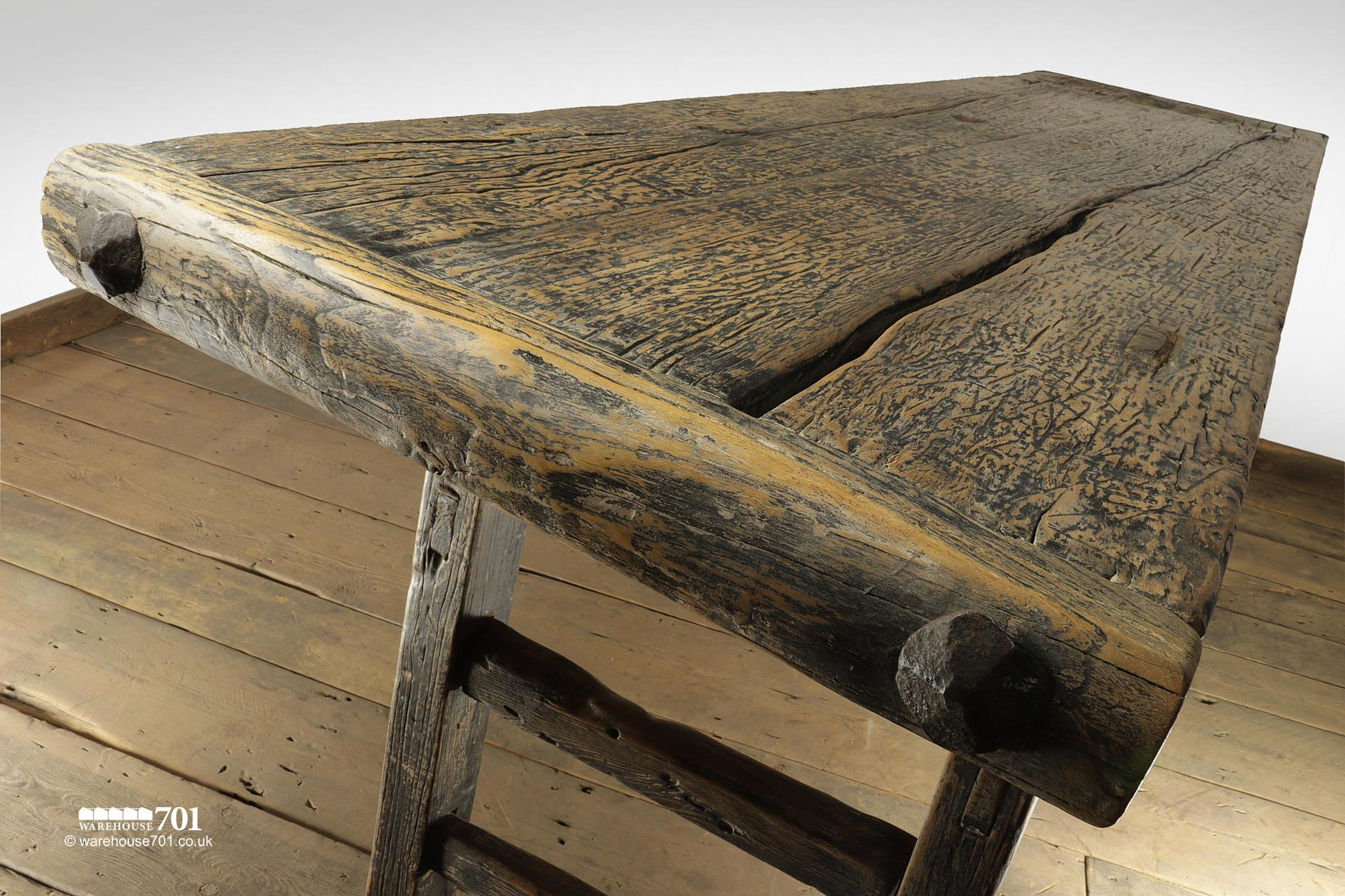 Impressive Reclaimed Elm Dark Wood Console Table #7