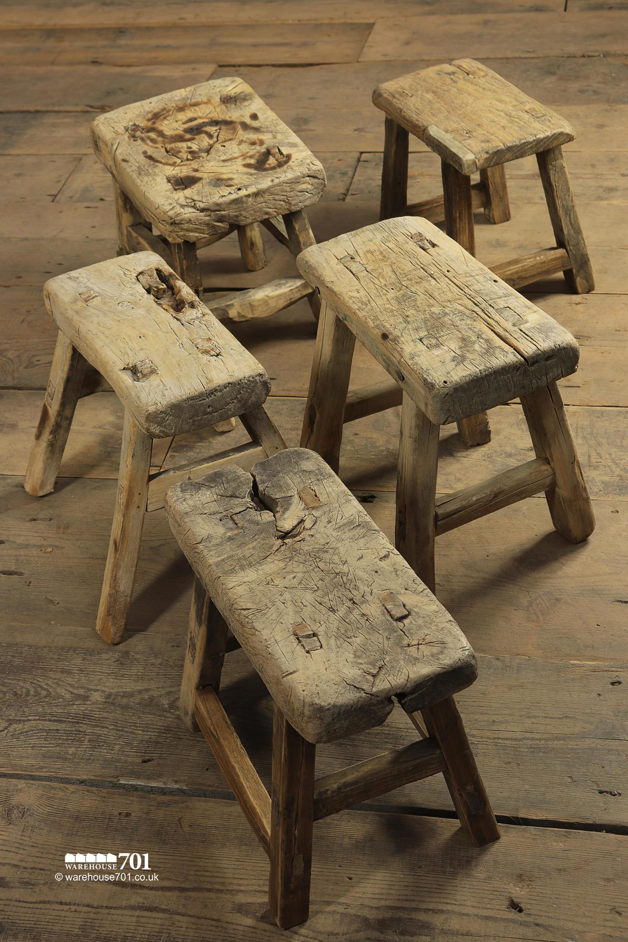 Reclaimed Elm Small Three and Four legged Milking Stools #5