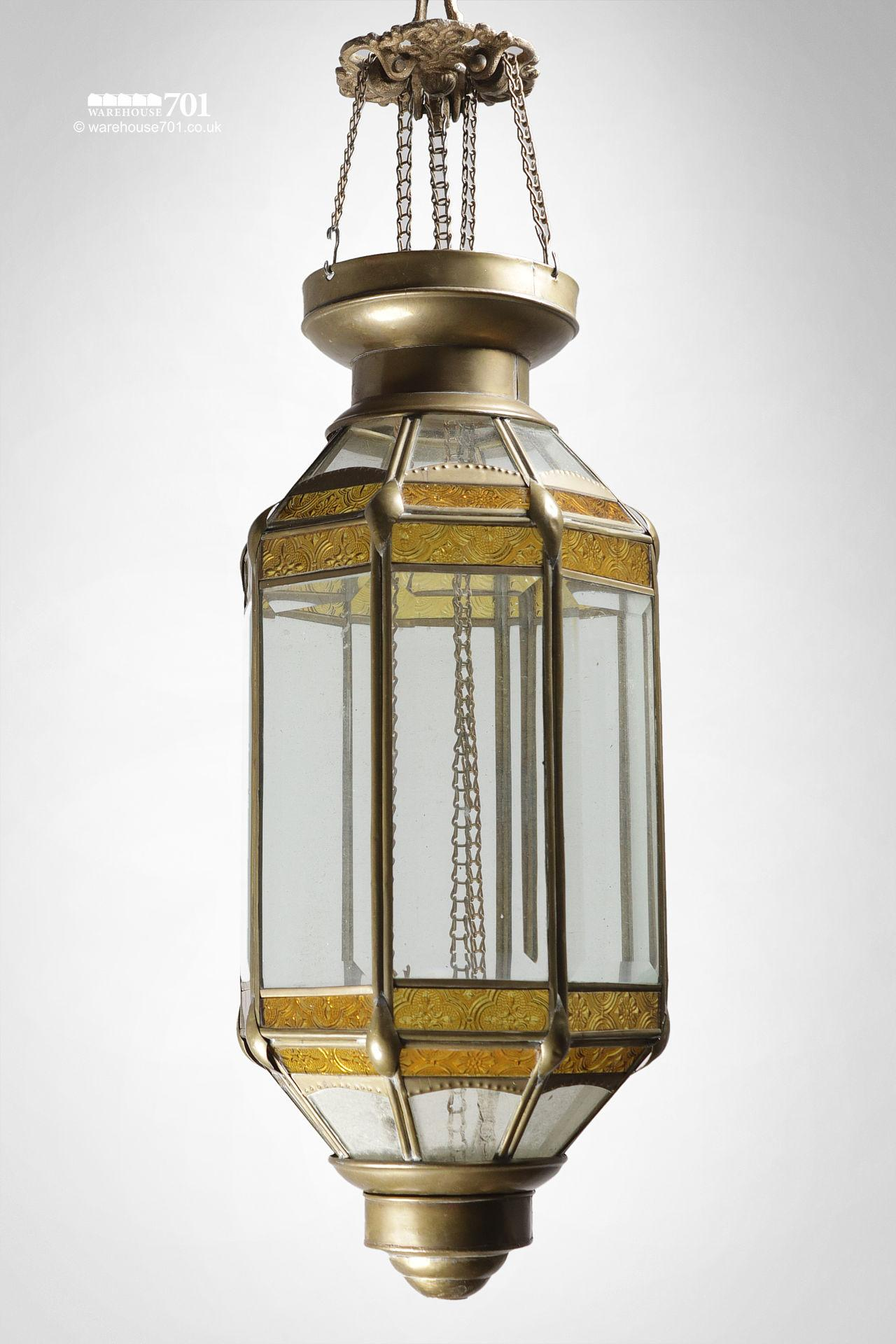 Vintage Octagonal Brass and Glass Candle Lantern