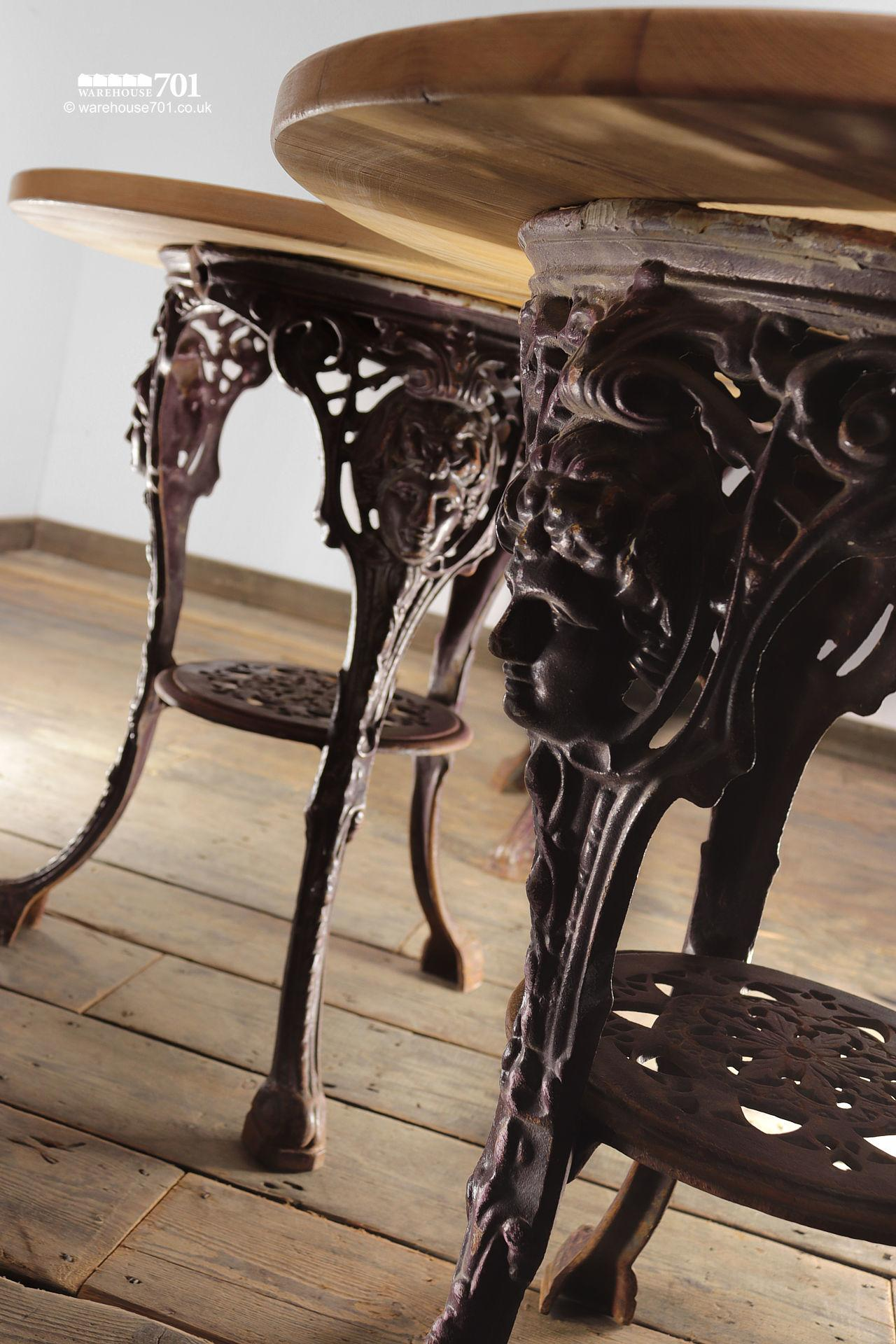 Ornate Cast Iron and Reclaimed Wood Cafe Tables #4