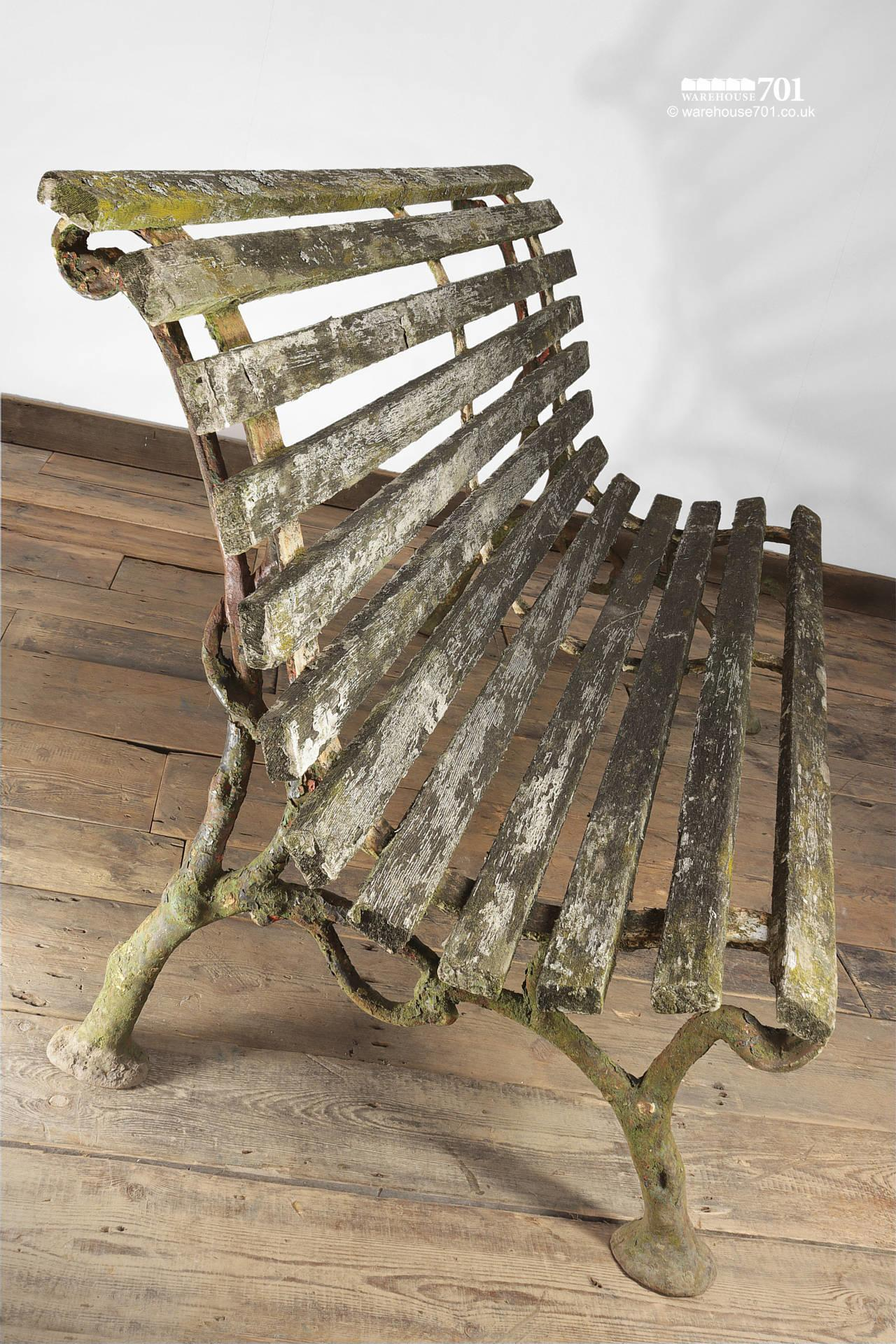 Old Branch Pattern Cast Iron and Wood Slat Bench #3