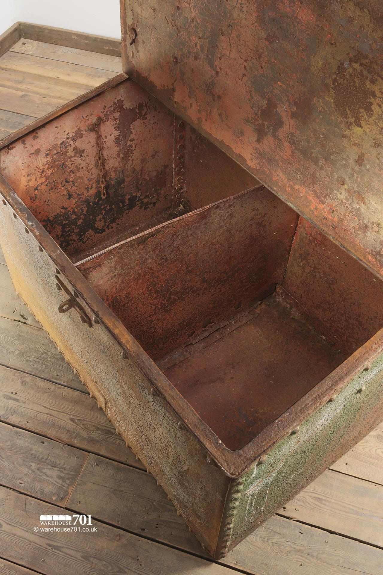 Large Green Reclaimed Riveted Double Feed Bin #5
