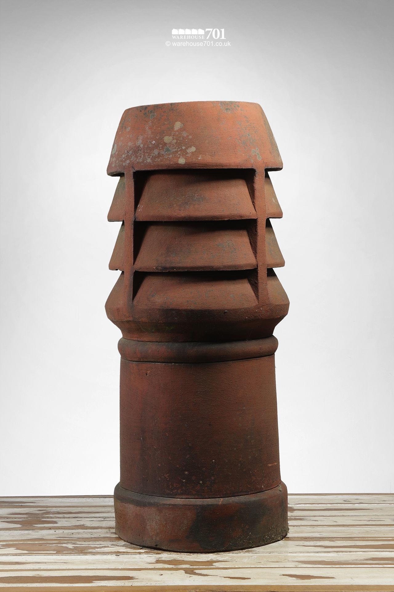 Old Straight Sided Triple Louvre Chimney Pot