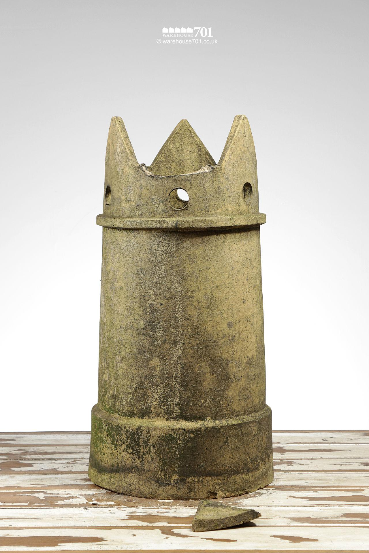 Period Tapered Buff Pierced Crown Chimney Pot #2