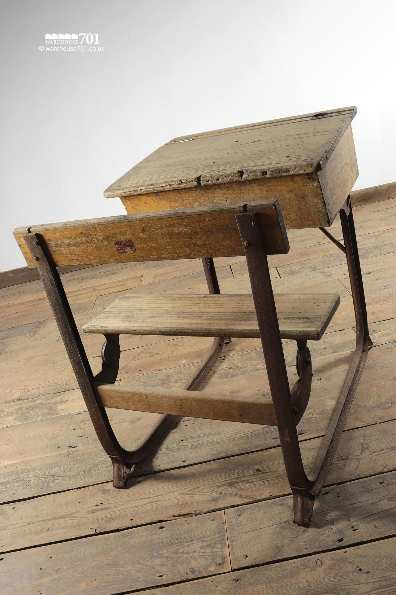 Reclaimed Wooden Childs School Desk and Seat