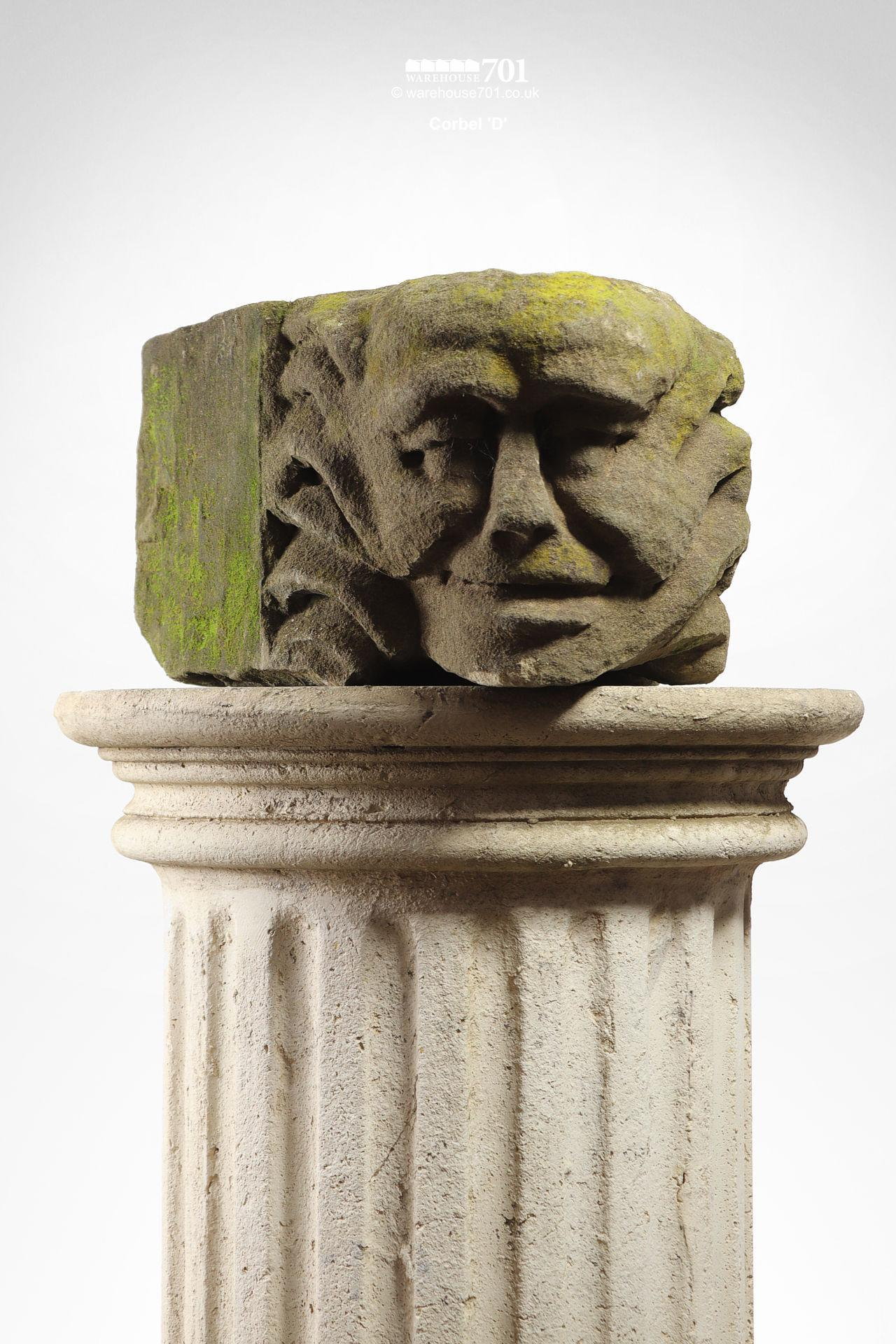 Assorted Salvaged Hand-Carved Stone Corbel Faces #8