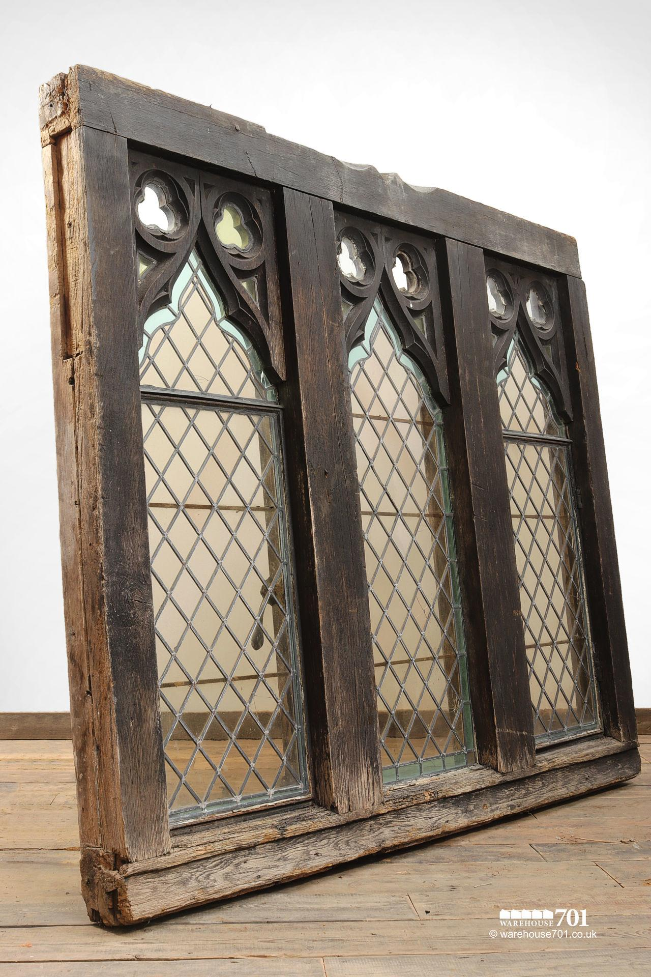 Impressive Pair of Gothic Style Oak and Leaded Glass Windows #2