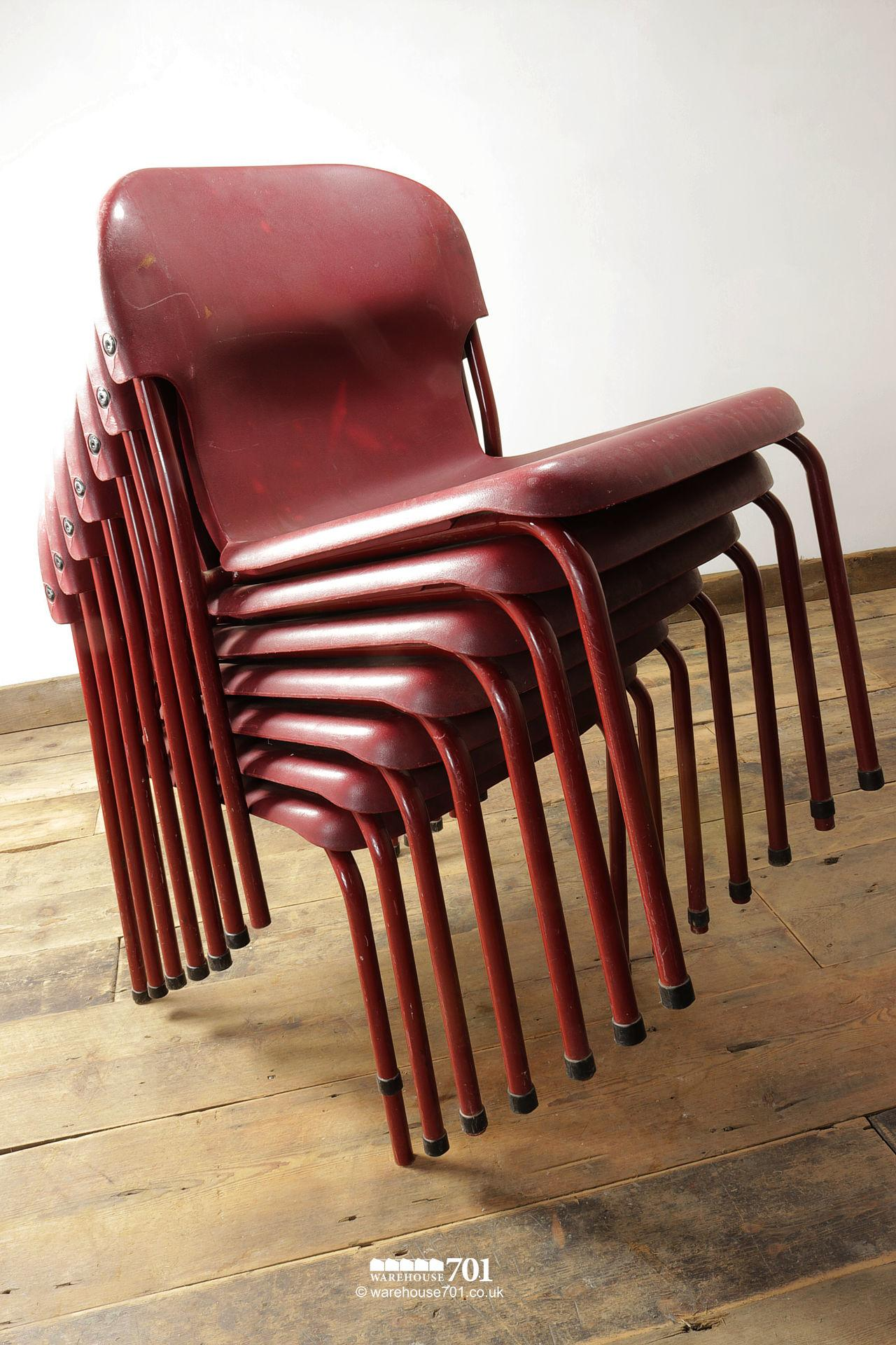 Vintage Burgundy Tubular Steel and Plastic Stacking Chairs #2