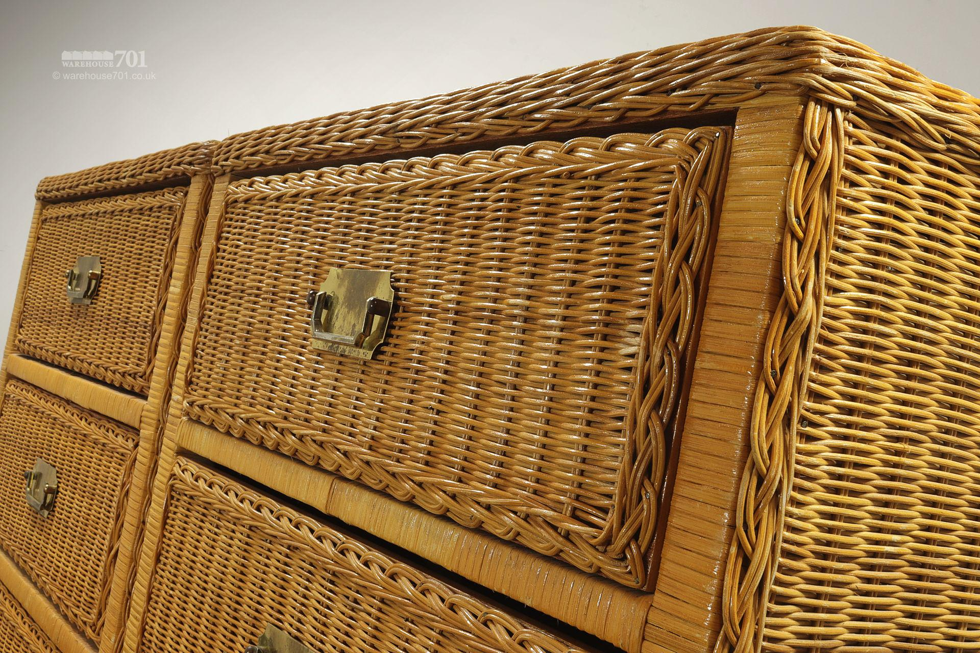 Pair of Vintage Style Wicker Chest of Drawers #4