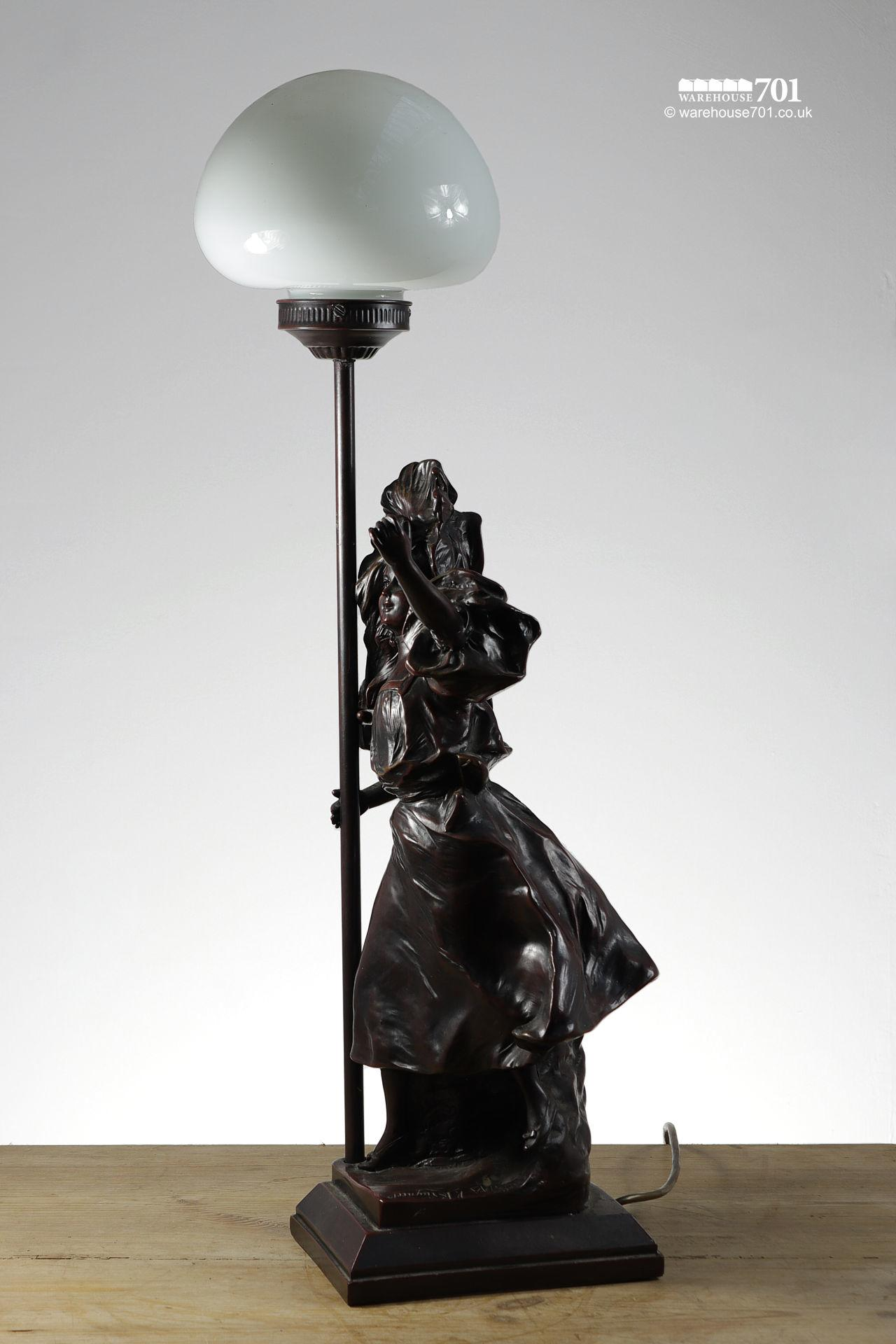 Vintage Victor Bruyneel Figurine Table Lamp